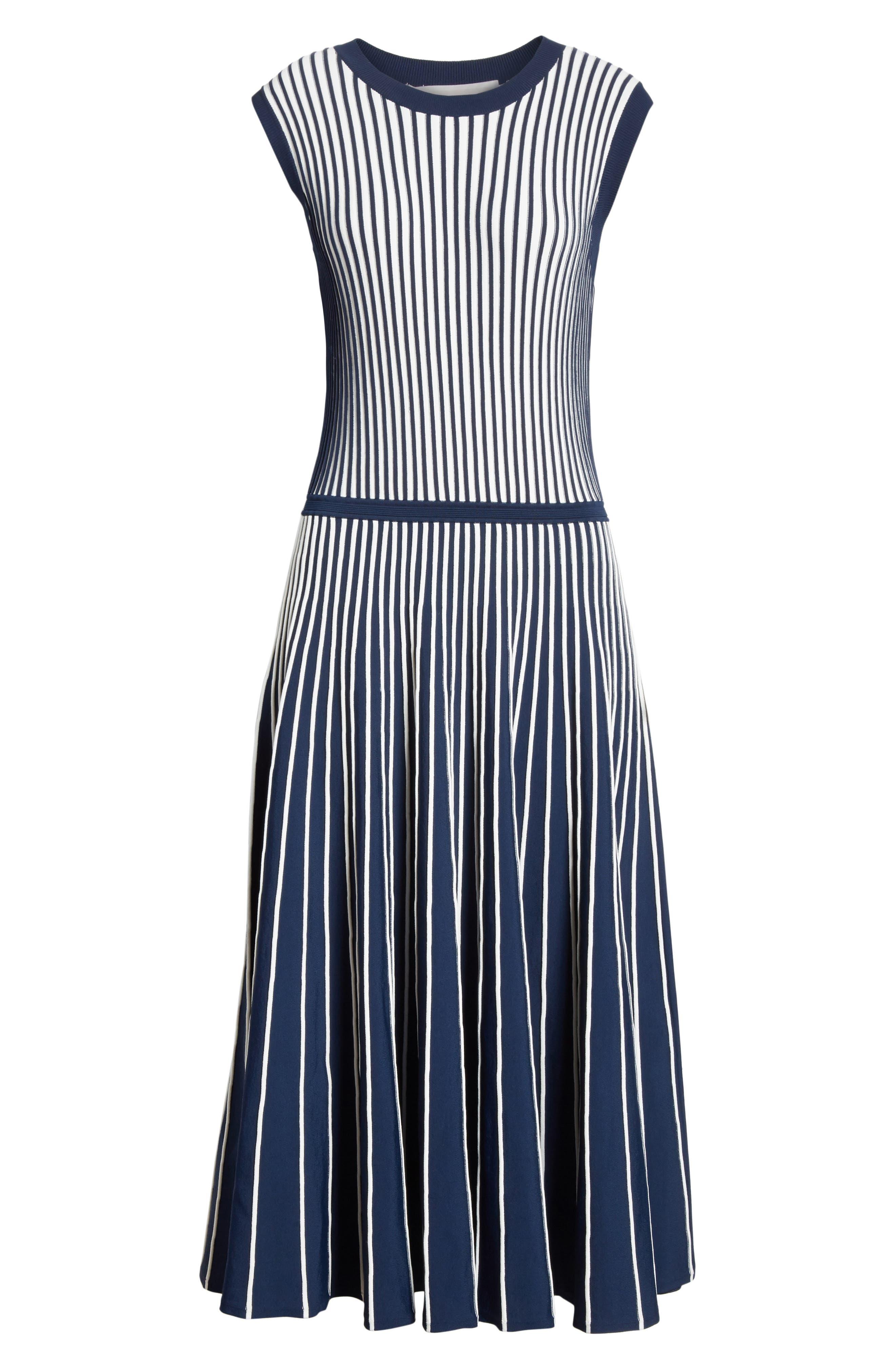 Stripe Knit Day Dress,                             Alternate thumbnail 7, color,                             Navy / Chalk