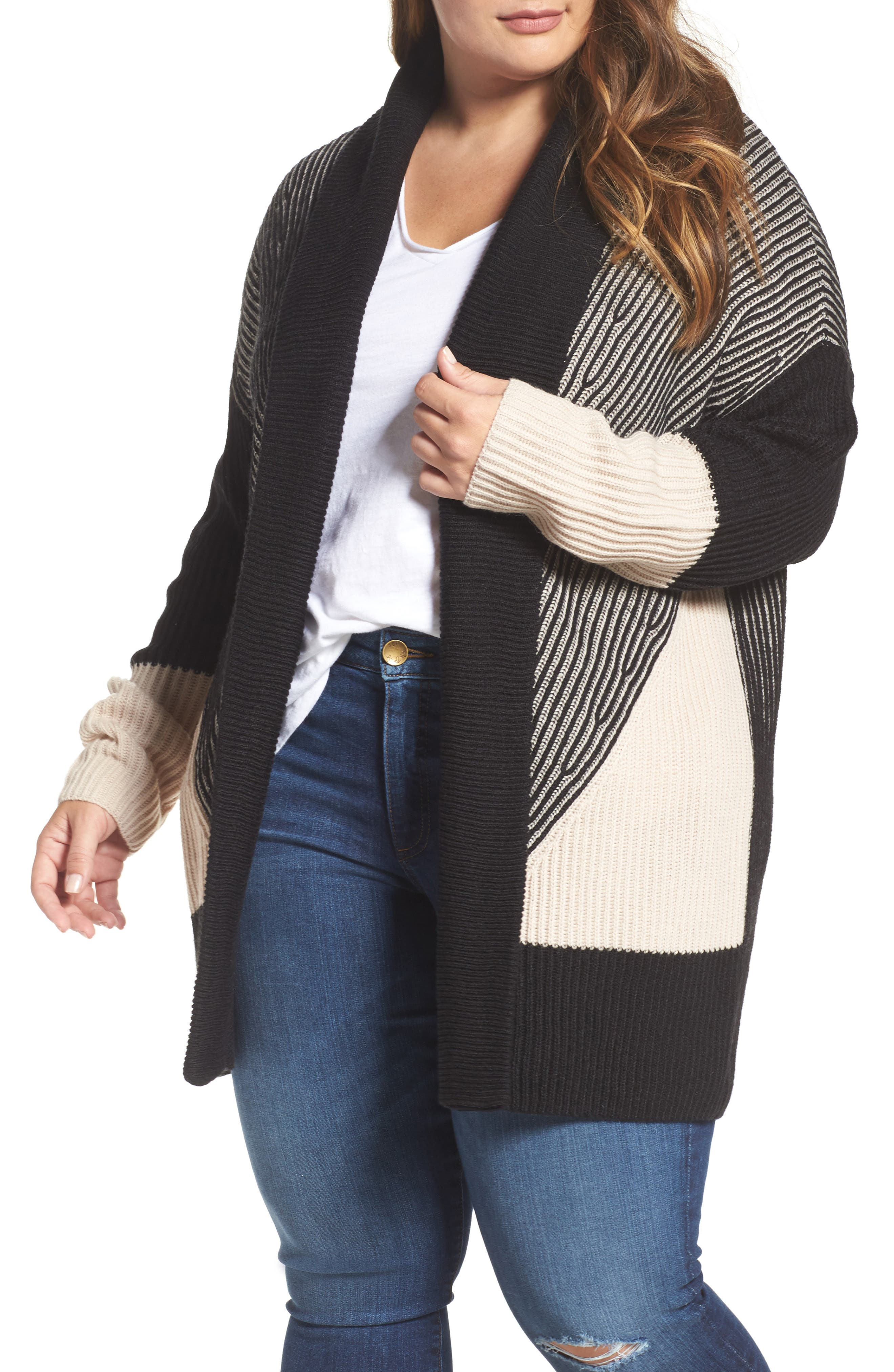Caslon® Colorblock Ribbed Cardigan (Plus Size)