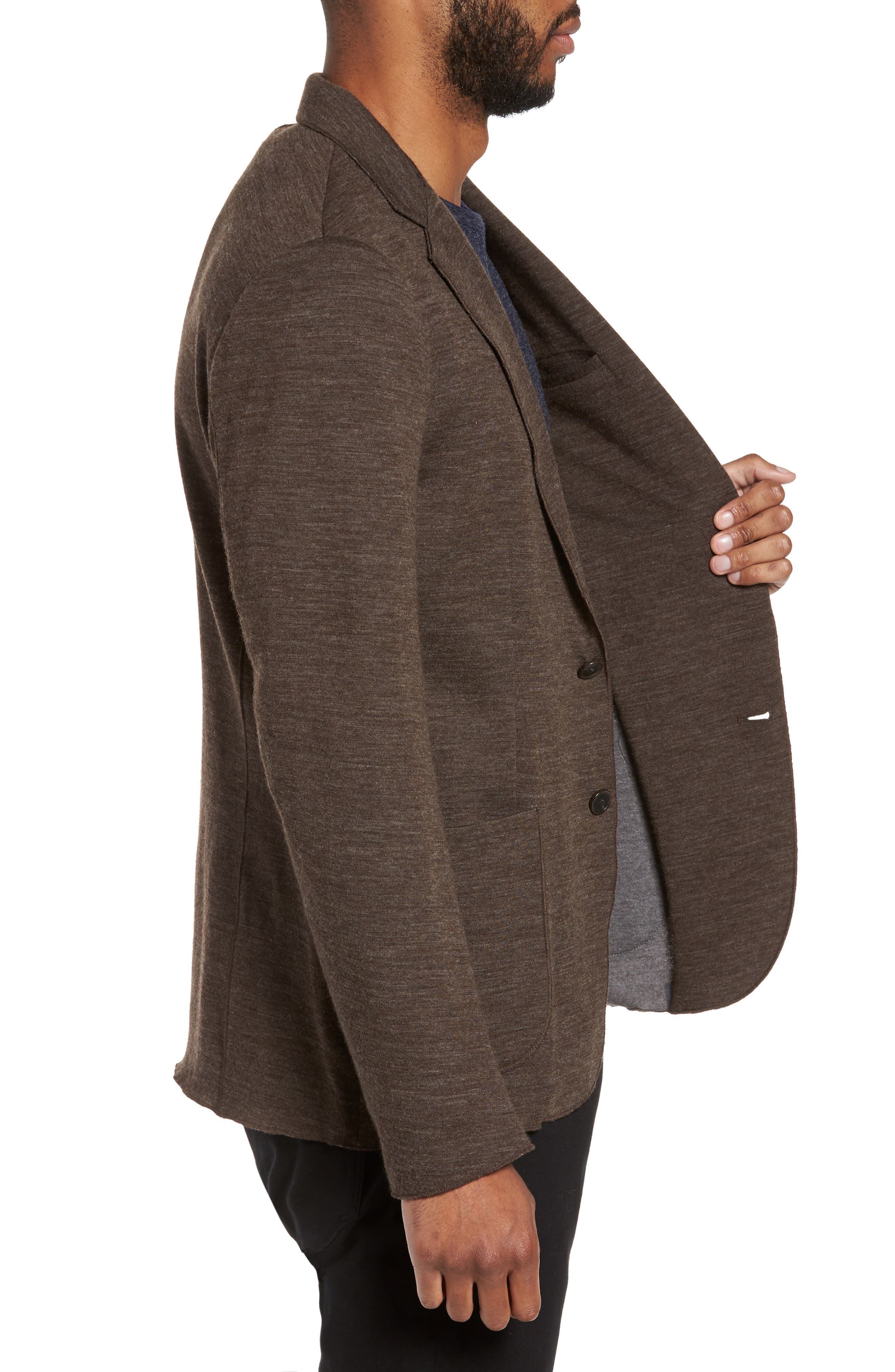 Knit Blazer,                             Alternate thumbnail 7, color,                             Brown