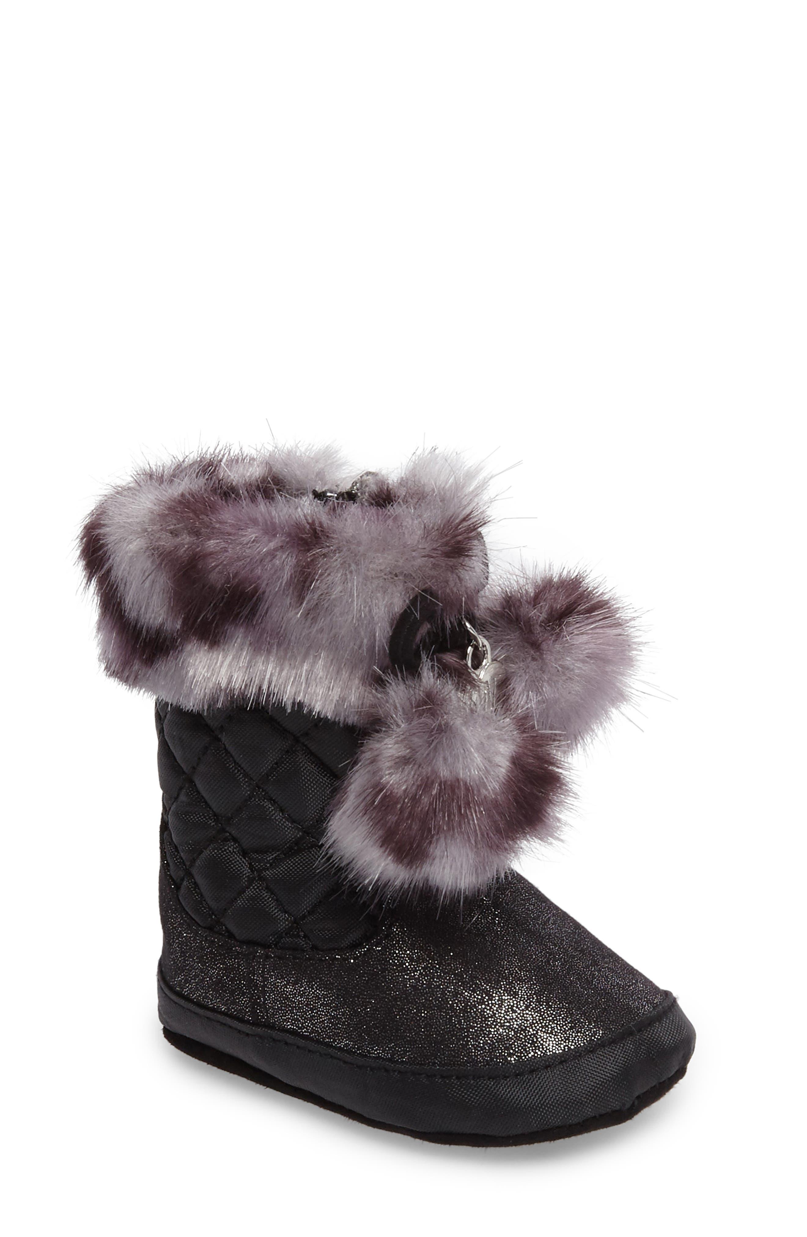 Baby Sparkle Faux Fur Crib Bootie,                         Main,                         color, Black Shimmer