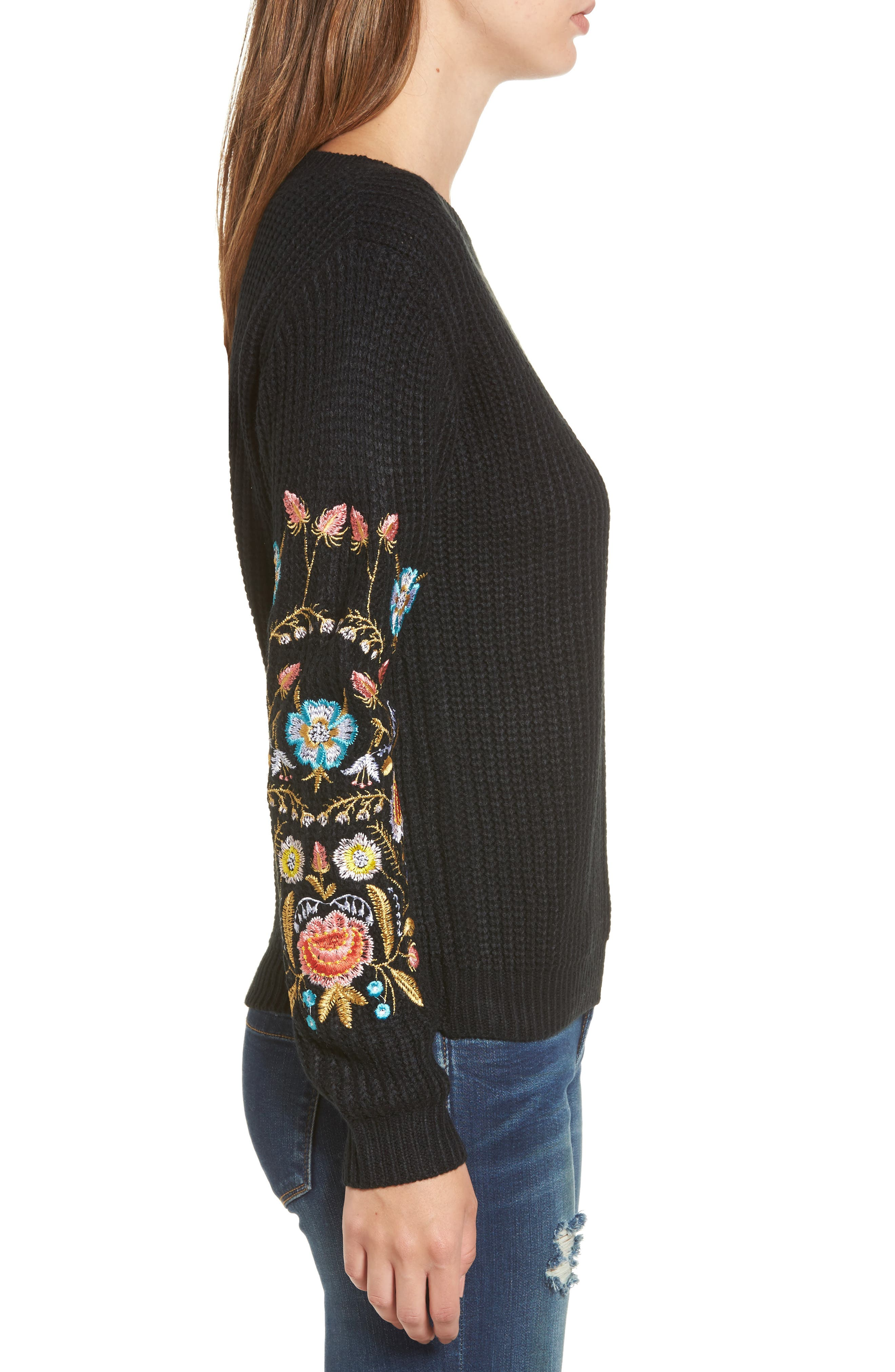 Embroidered Waffle Stitch Sweater,                             Alternate thumbnail 3, color,                             Black