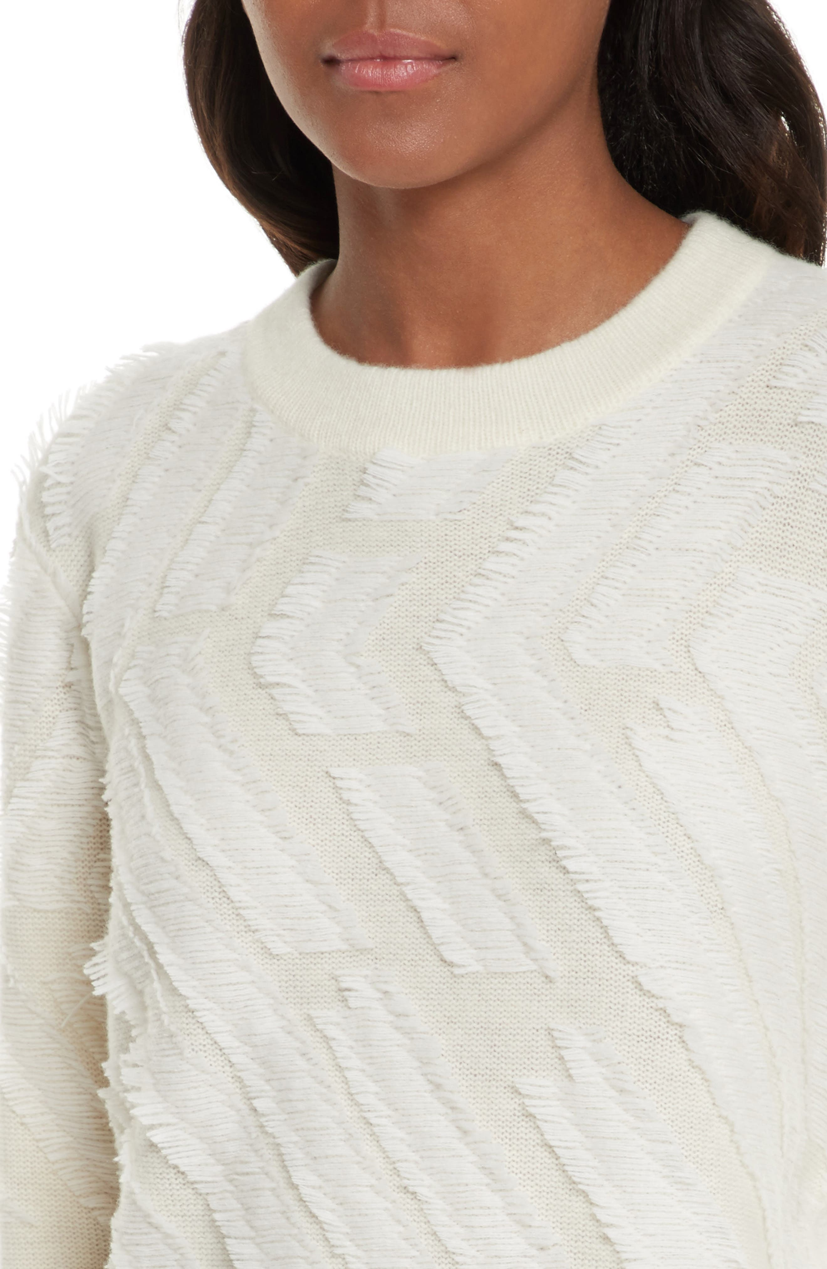 Textured Wool Sweater,                             Alternate thumbnail 4, color,                             New Ivory
