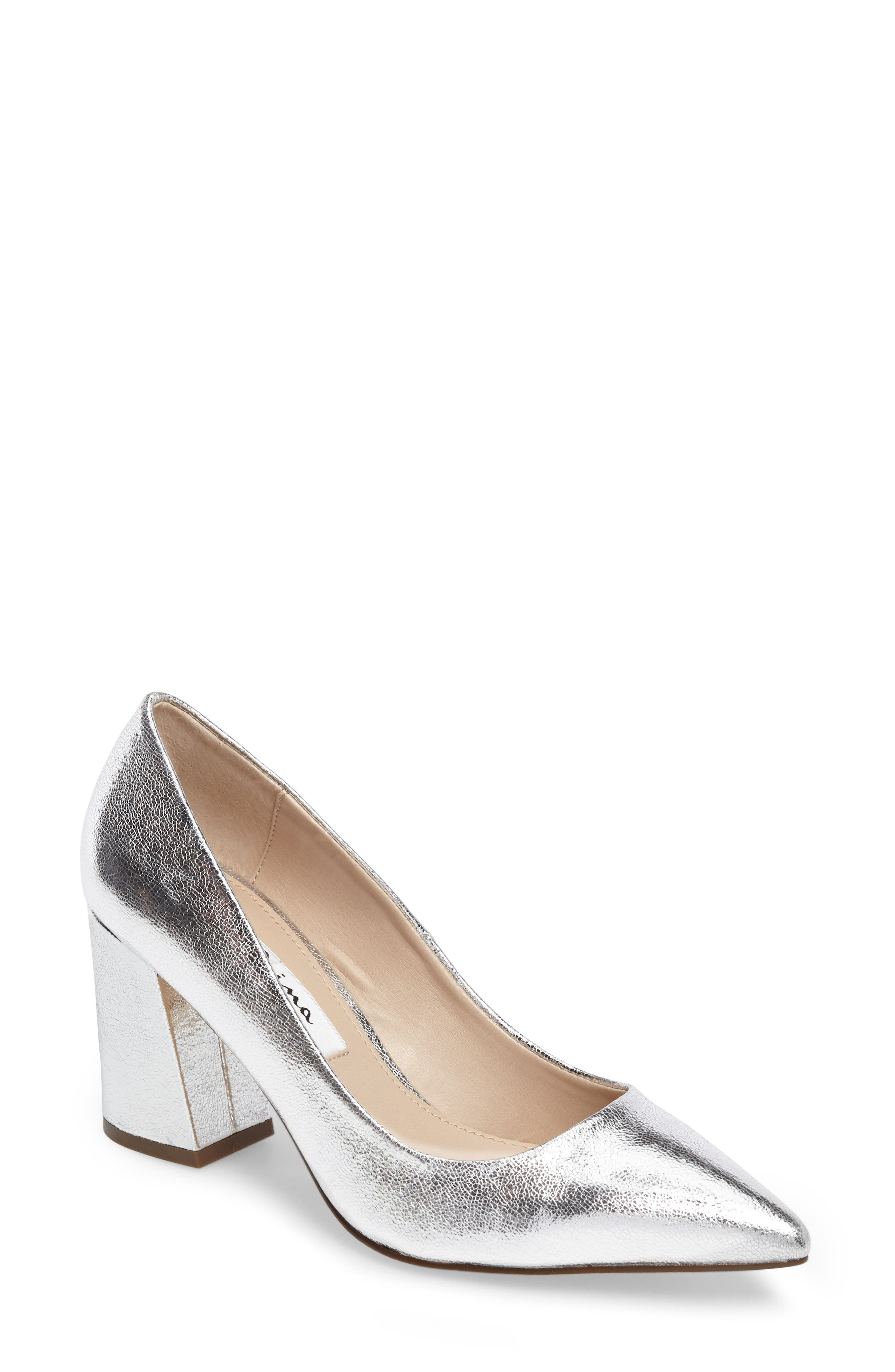 Tinsley Pointy Toe Pump,                         Main,                         color, Silver Fabric