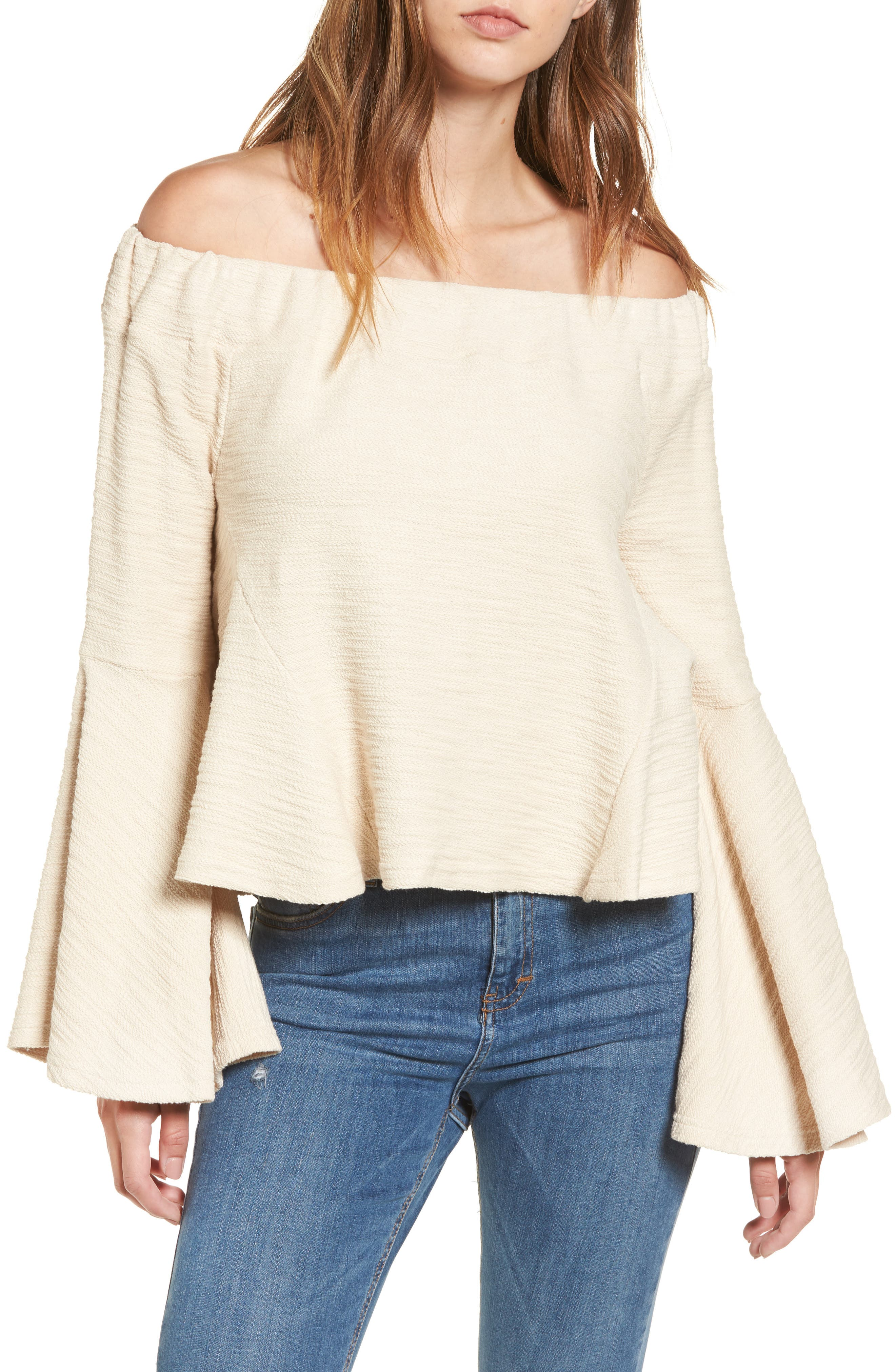 Off the Shoulder Bell Sleeve Top,                         Main,                         color, Ivory