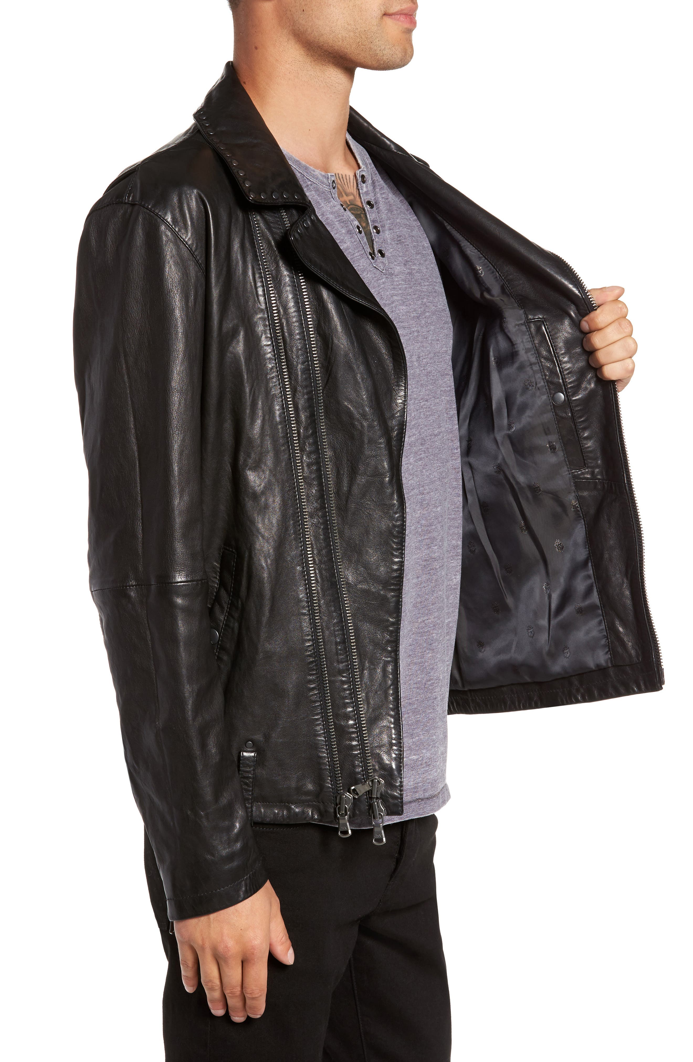 Alternate Image 3  - John Varvatos Star USA Studded Collar Leather Jacket