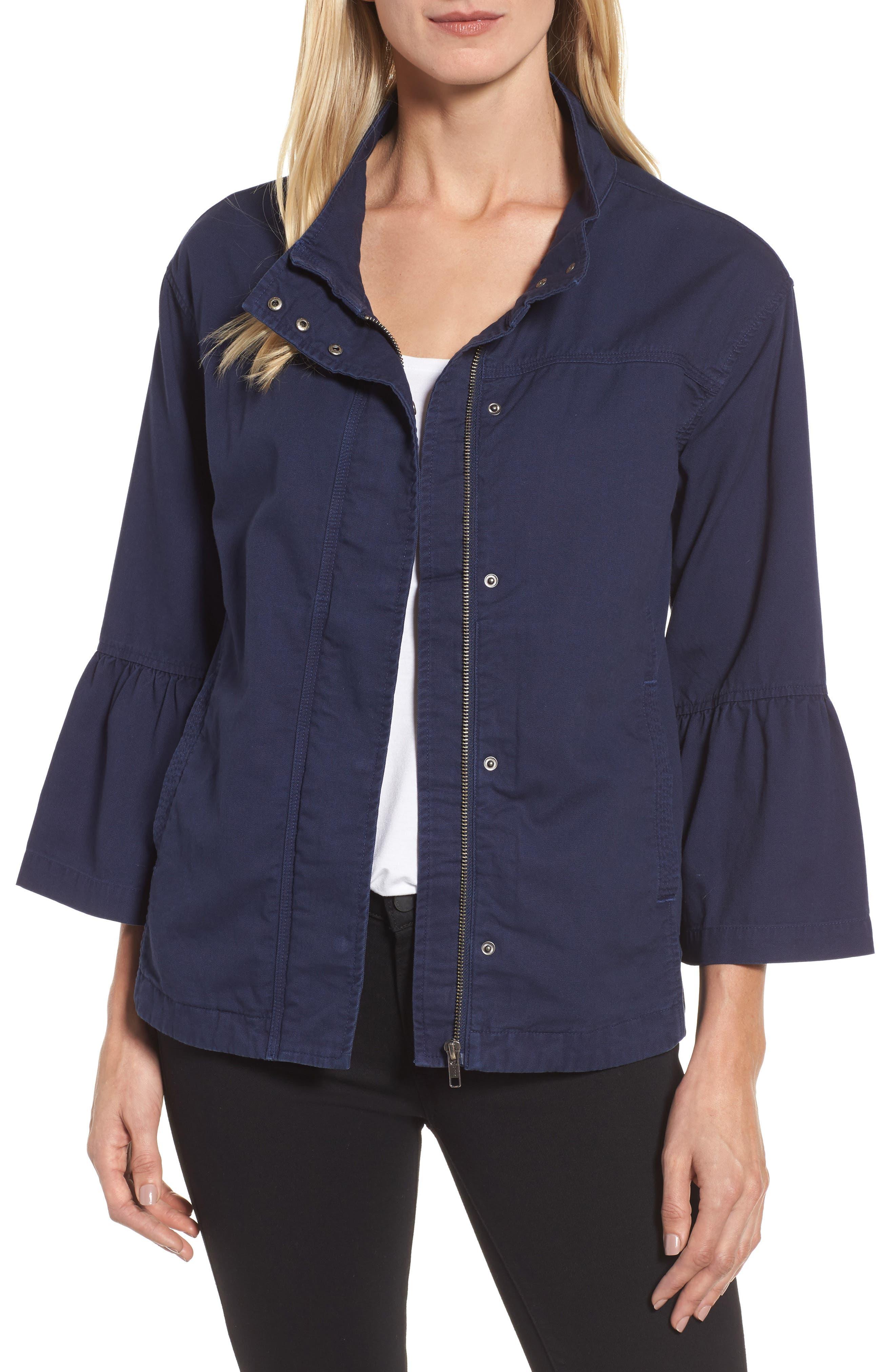 Flare Sleeve Utility Jacket,                         Main,                         color, Navy