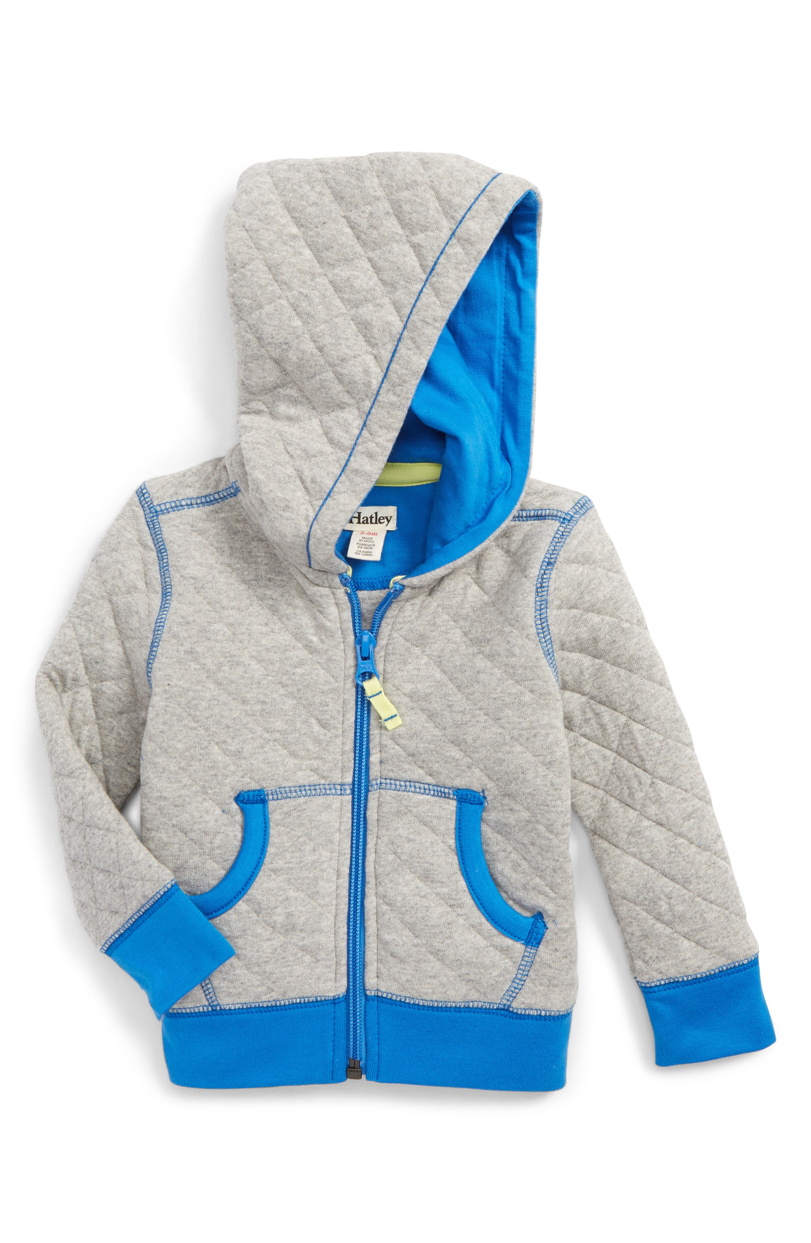 Alternate Image 1 Selected - Hatley Athletics Quilted Hoodie (Baby Boys)
