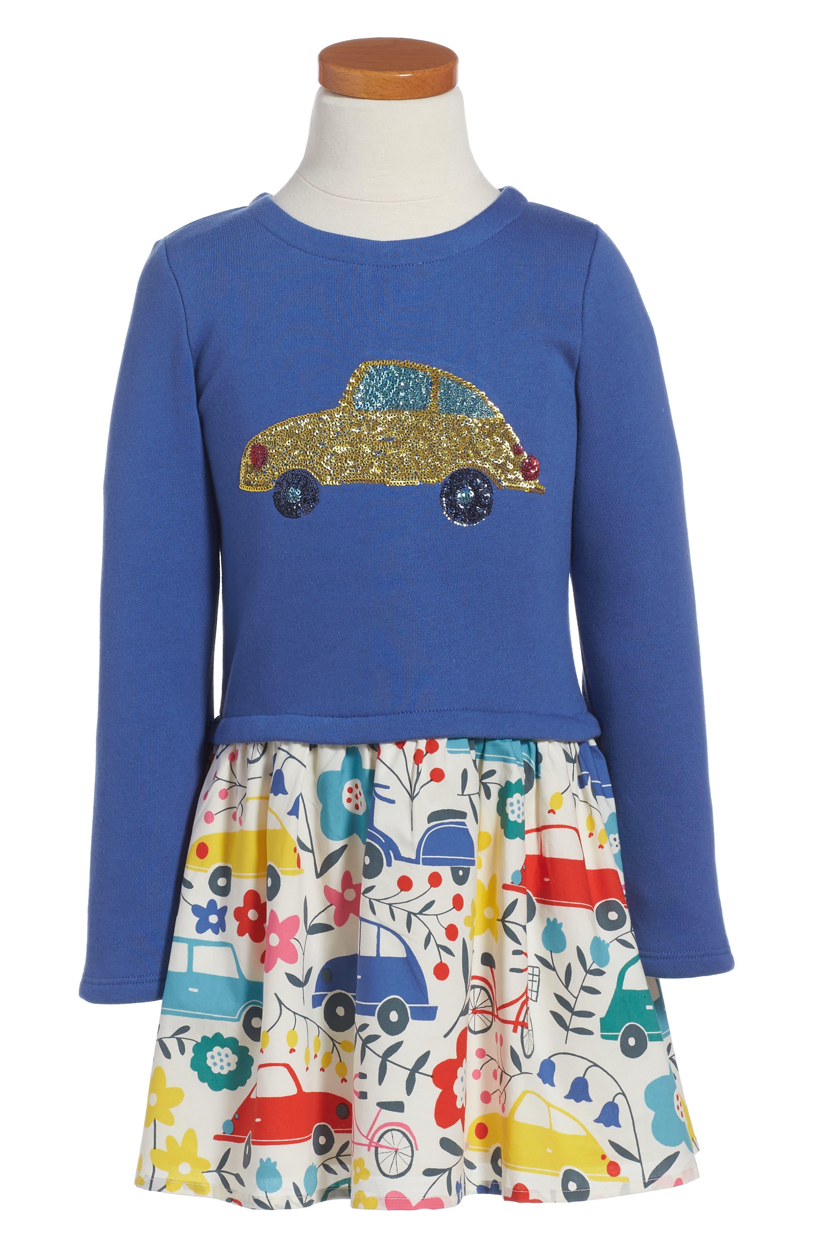 Alternate Image 1 Selected - Mini Boden Sequin Appliqué Dress (Toddler Girls, Little Girls & Big Girls)