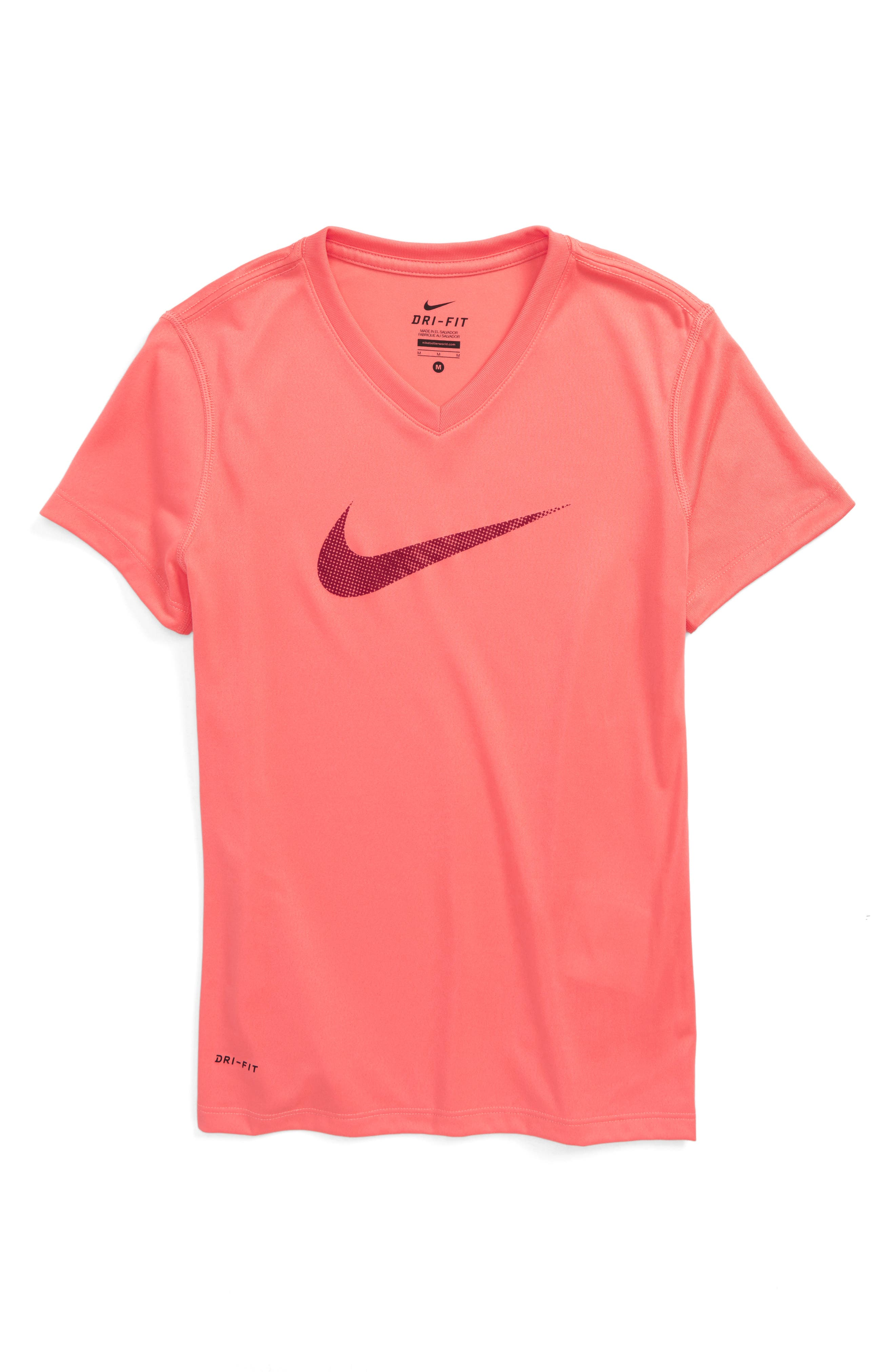 Swoosh Graphic Dri-FIT Tee,                         Main,                         color, Sunblush/ Team Red