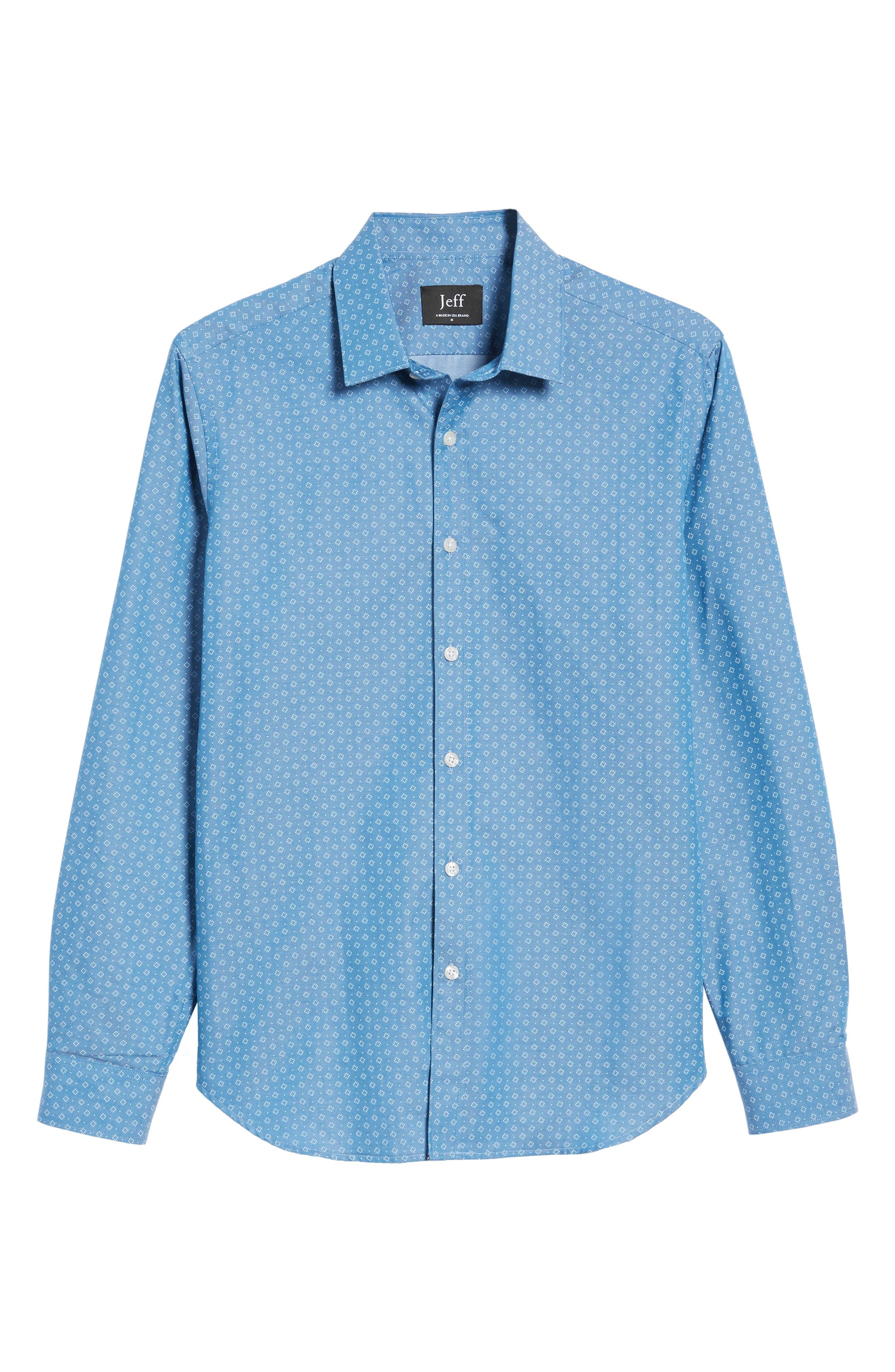 Camden Slim Fit Micro Print Sport Shirt,                             Alternate thumbnail 6, color,                             Blue