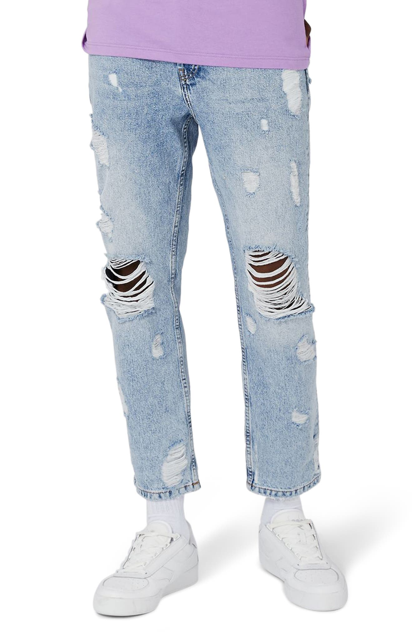 Topshop Extreme Rip Tapered Jeans,                             Main thumbnail 1, color,                             Light Blue