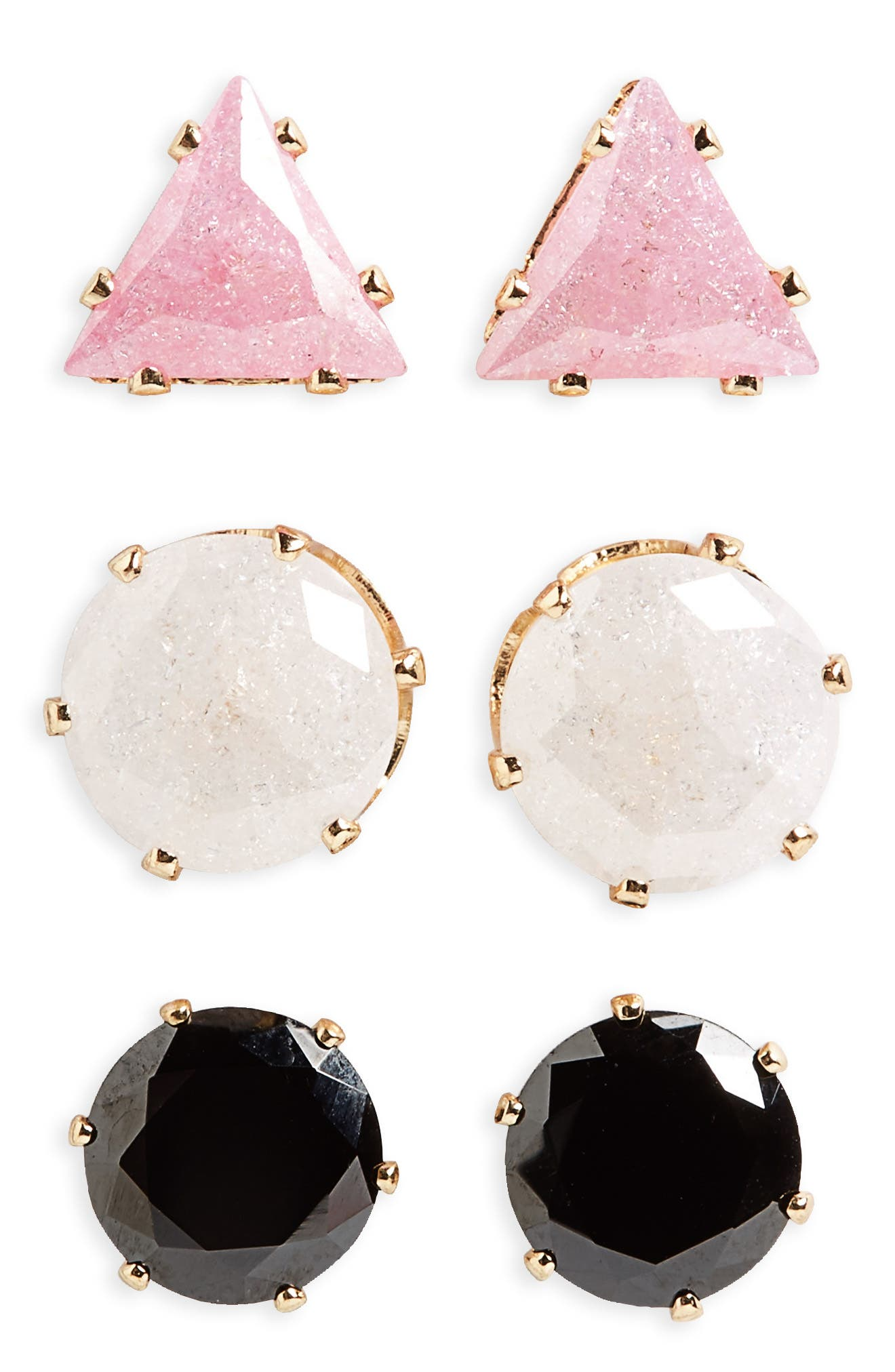 BP. 3-Pack Geometric Stud Earrings