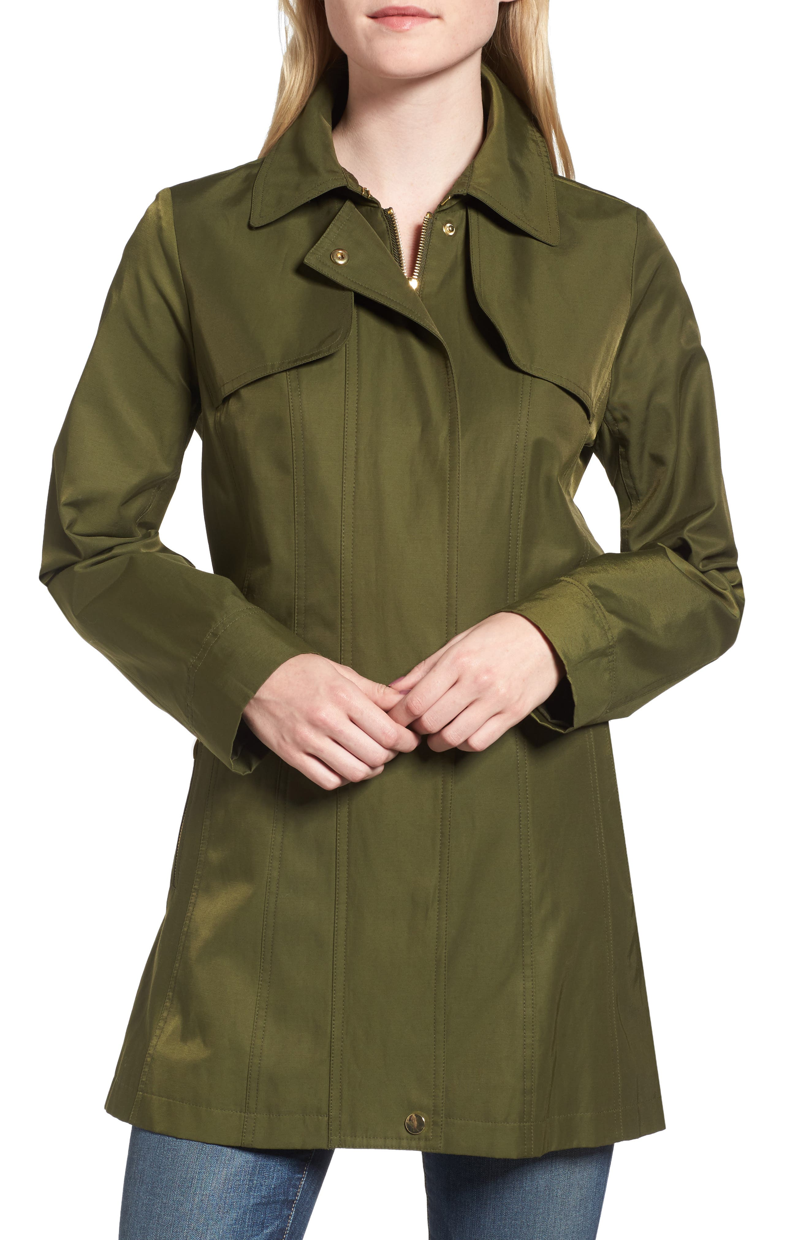 Fit & Flare Anorak Jacket,                             Alternate thumbnail 4, color,                             Olive