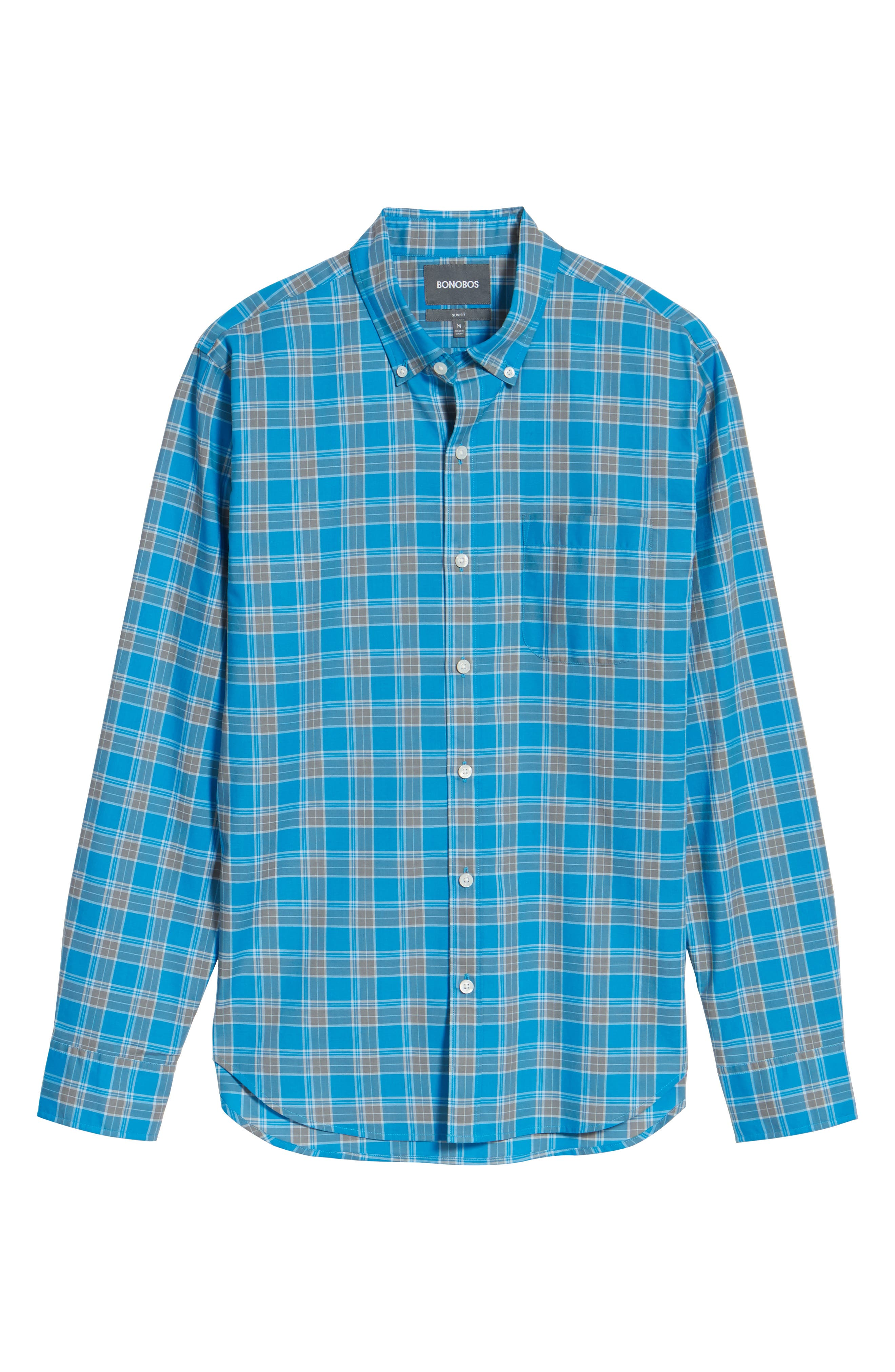 Summerweight Slim Fit Plaid Sport Shirt,                             Alternate thumbnail 5, color,                             Blue