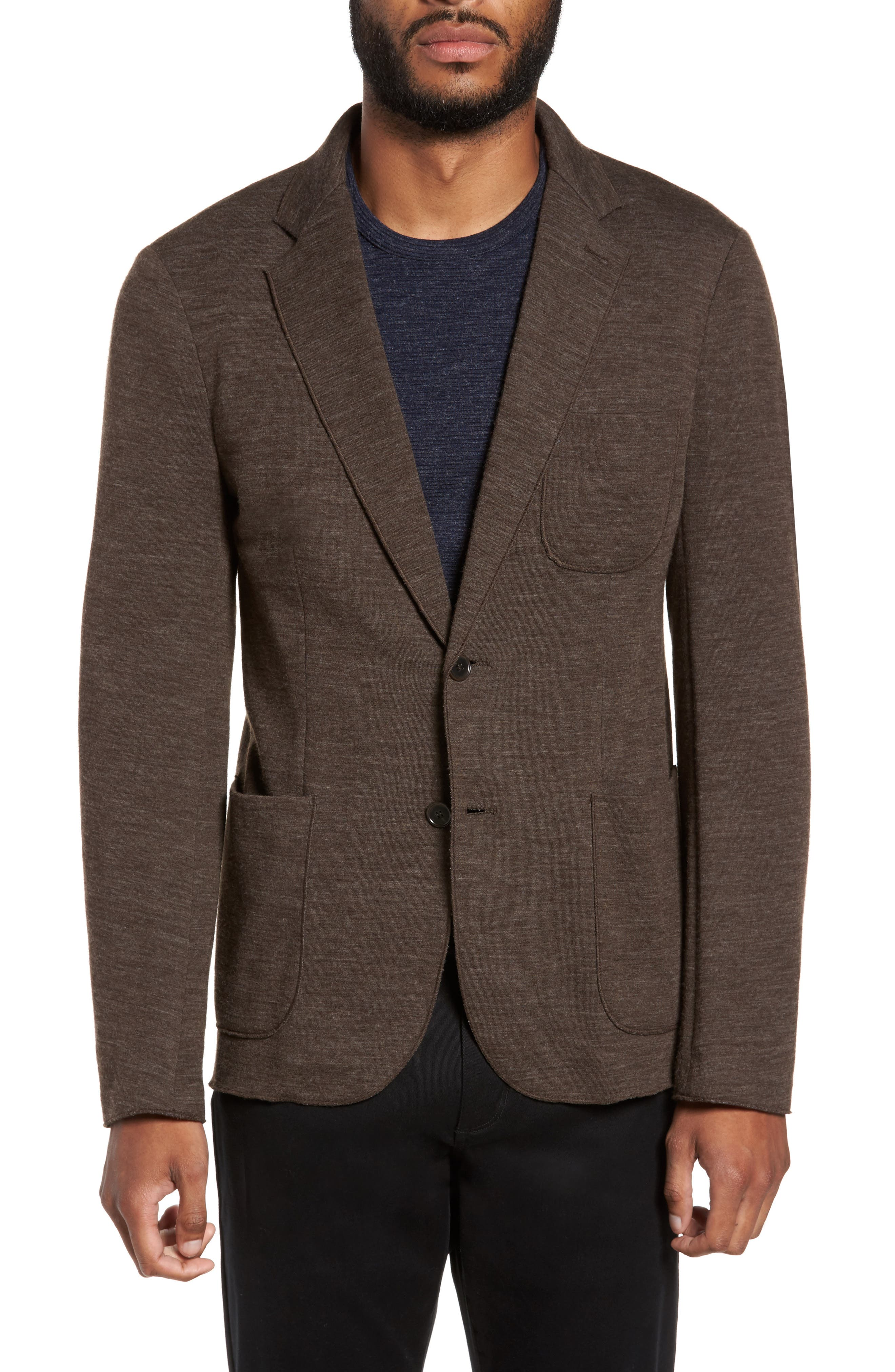 Knit Blazer,                         Main,                         color, Brown