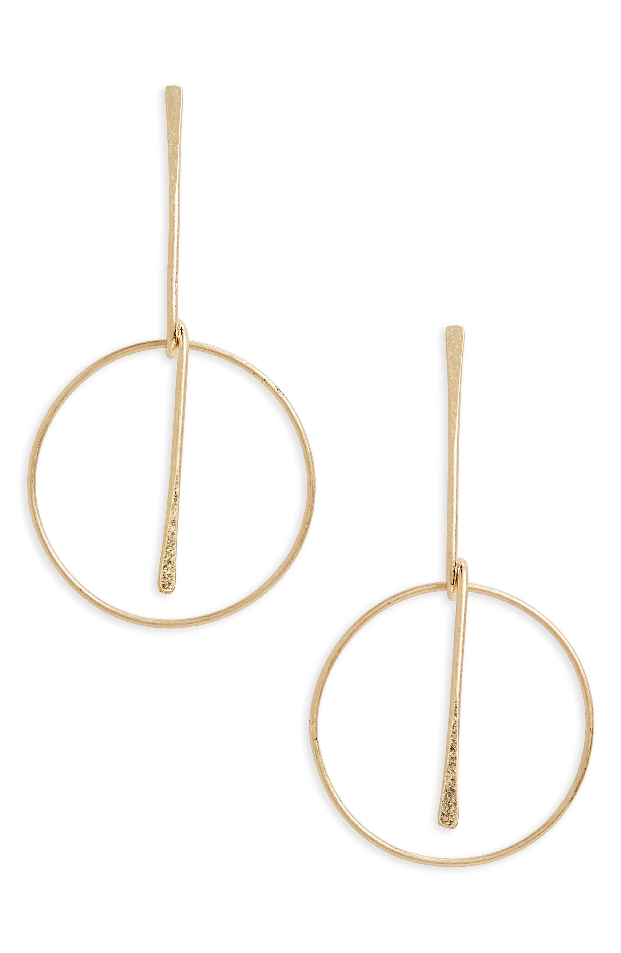 Frontal Hoop Earrings,                         Main,                         color, Gold