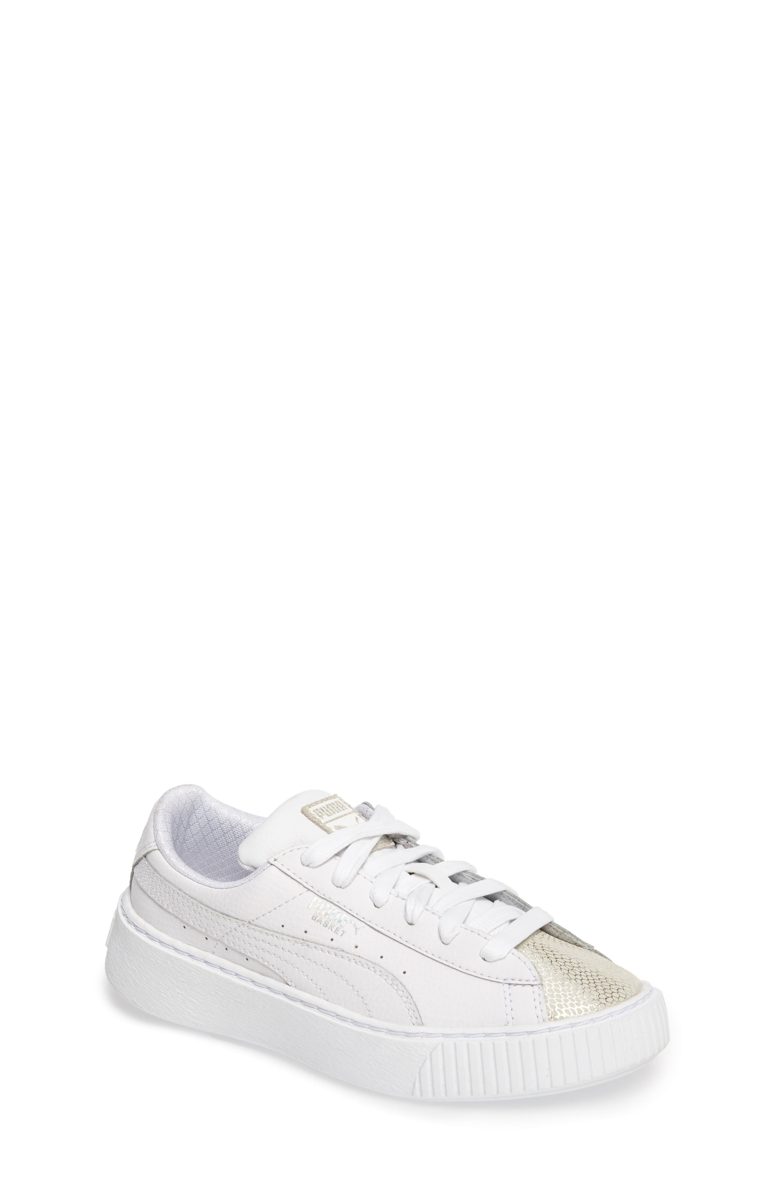Basket Glitz Platform Sneaker,                             Main thumbnail 1, color,                             Puma White
