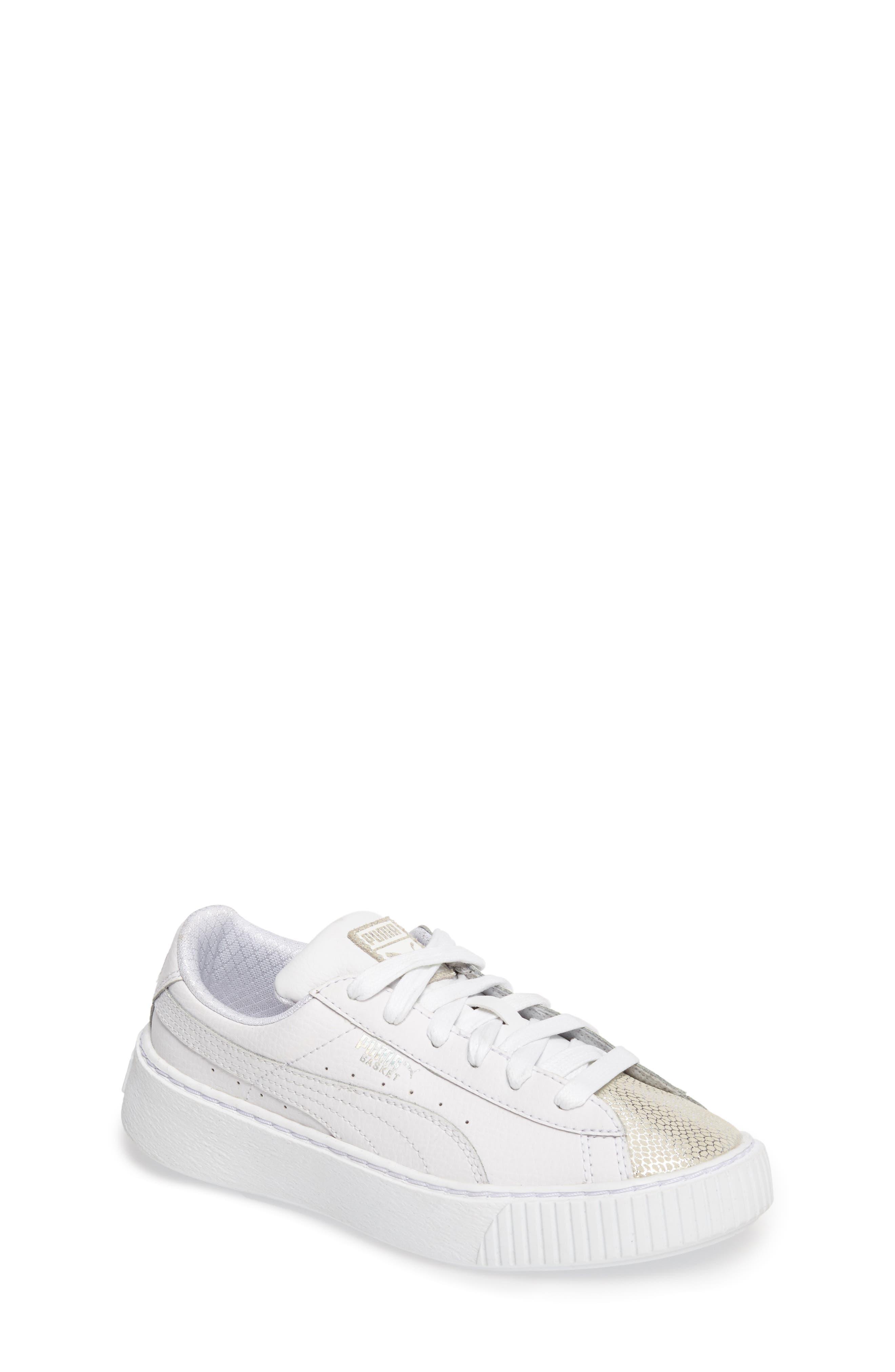 Basket Glitz Platform Sneaker,                         Main,                         color, Puma White