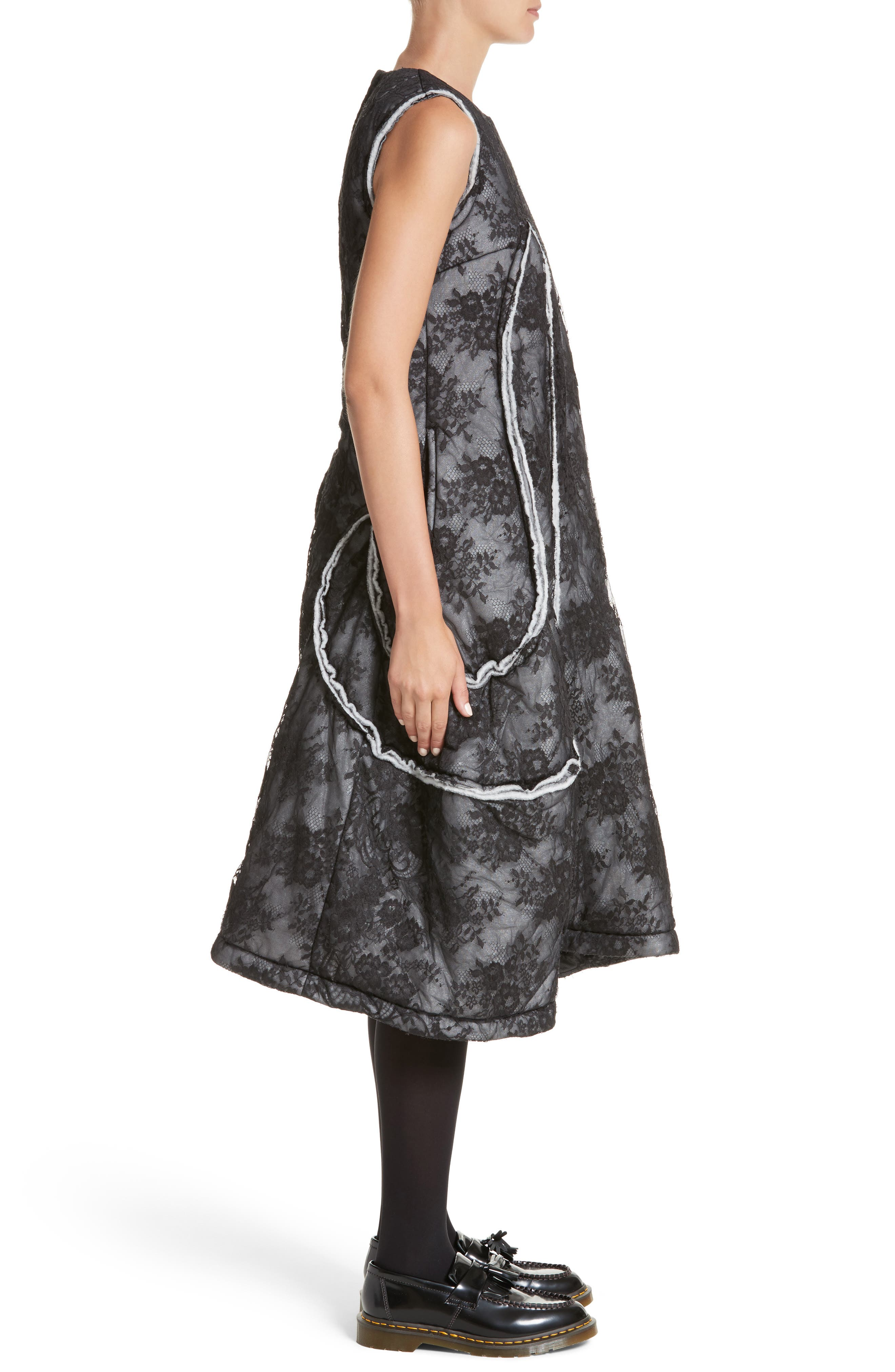 Floral Dress,                             Alternate thumbnail 3, color,                             Black/ Off White
