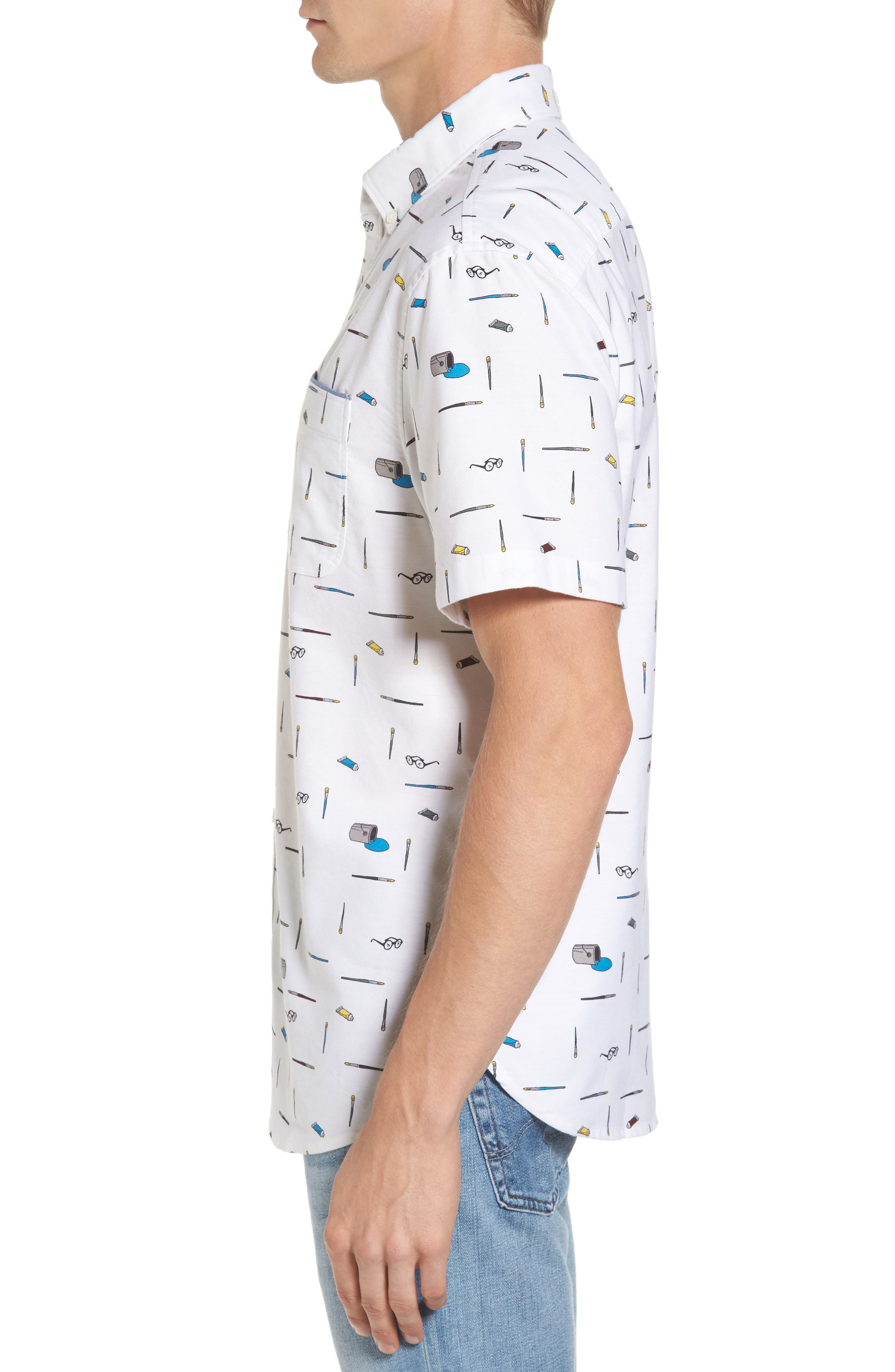 Paintbrush Pattern Woven Shirt,                             Alternate thumbnail 3, color,                             Bright White