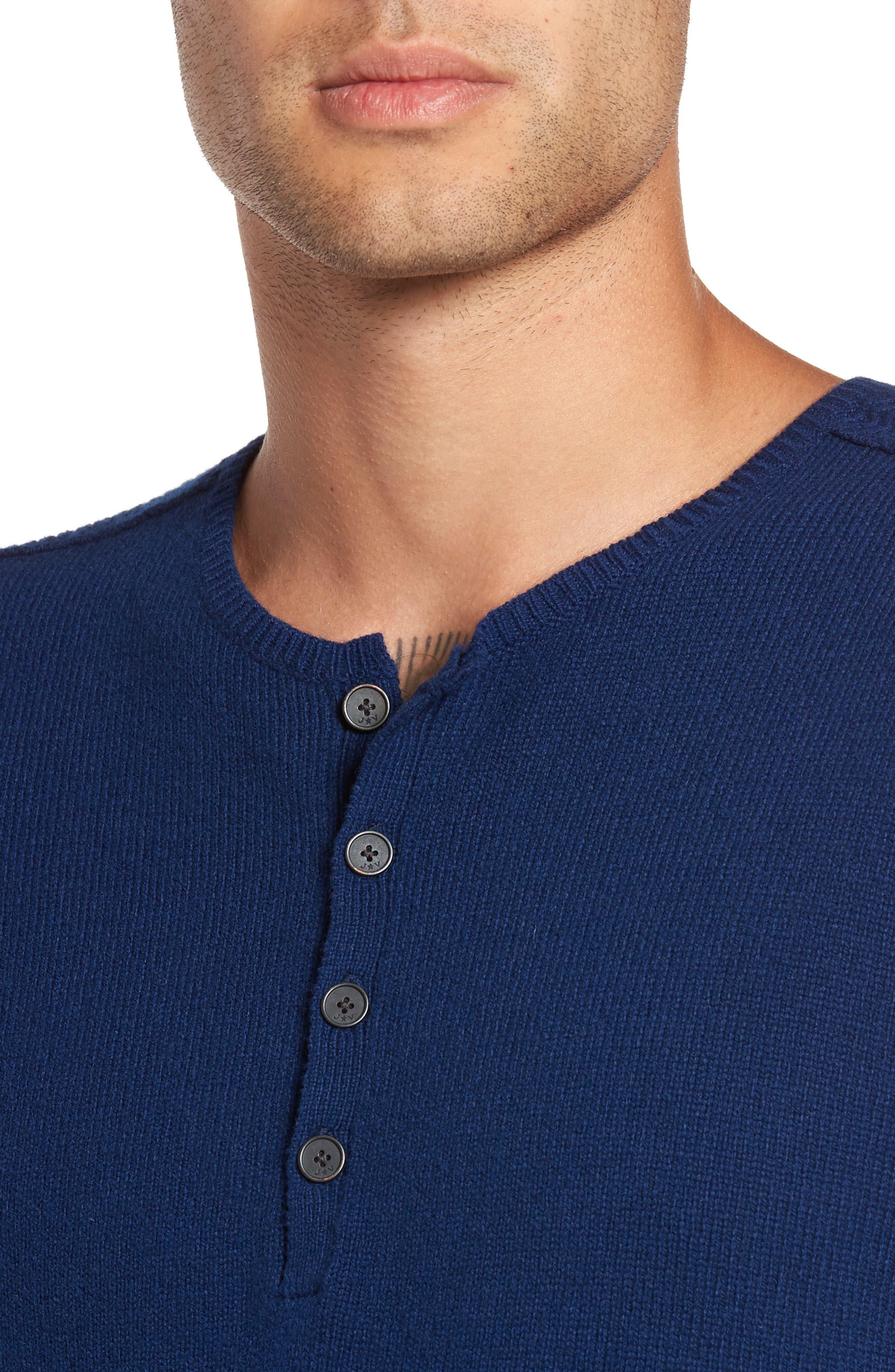 Henley Sweater,                             Alternate thumbnail 3, color,                             Atlantic Blue