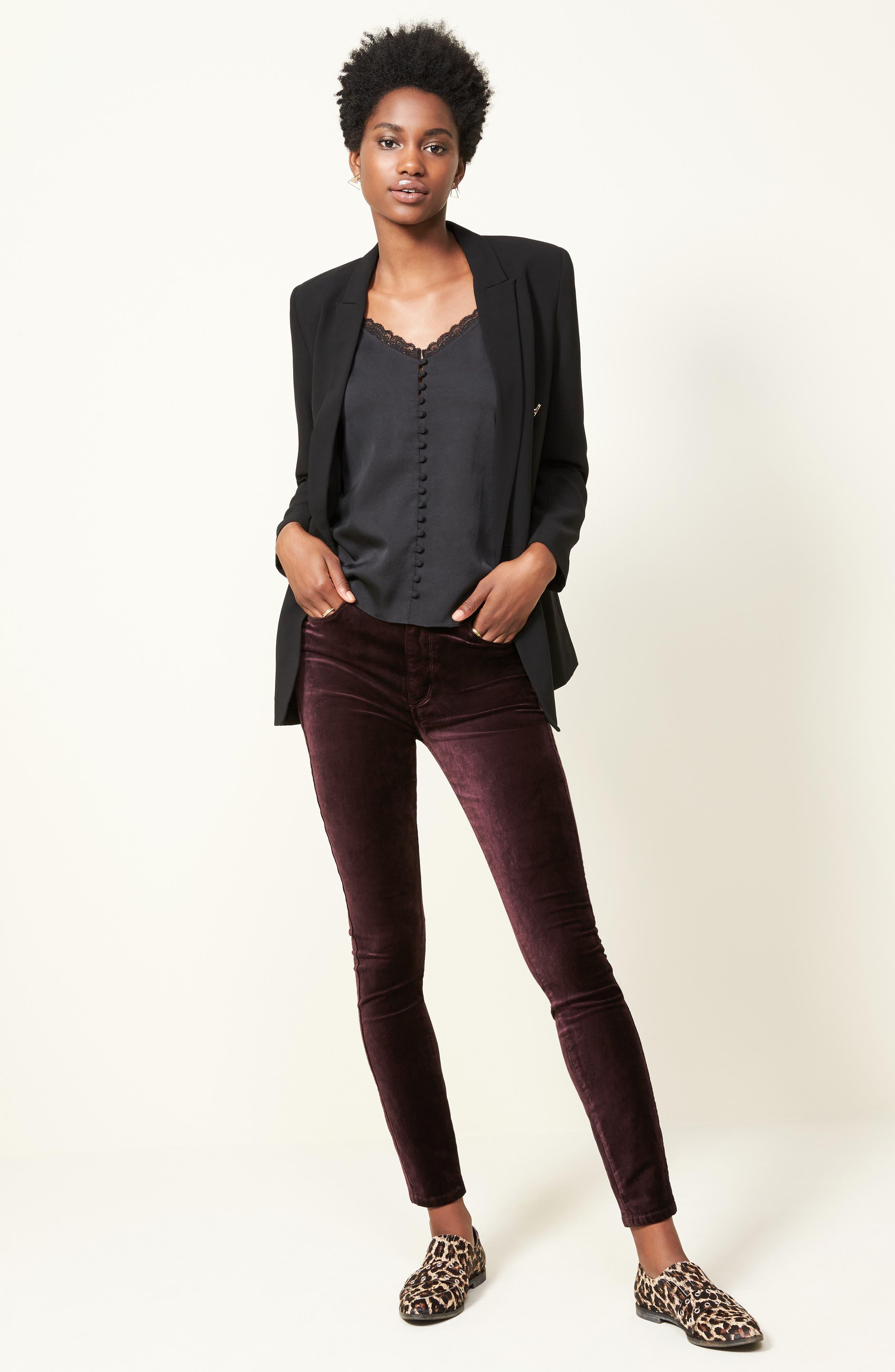 Hoxton Velvet Ankle Skinny Jeans,                             Alternate thumbnail 2, color,                             Black Cherry
