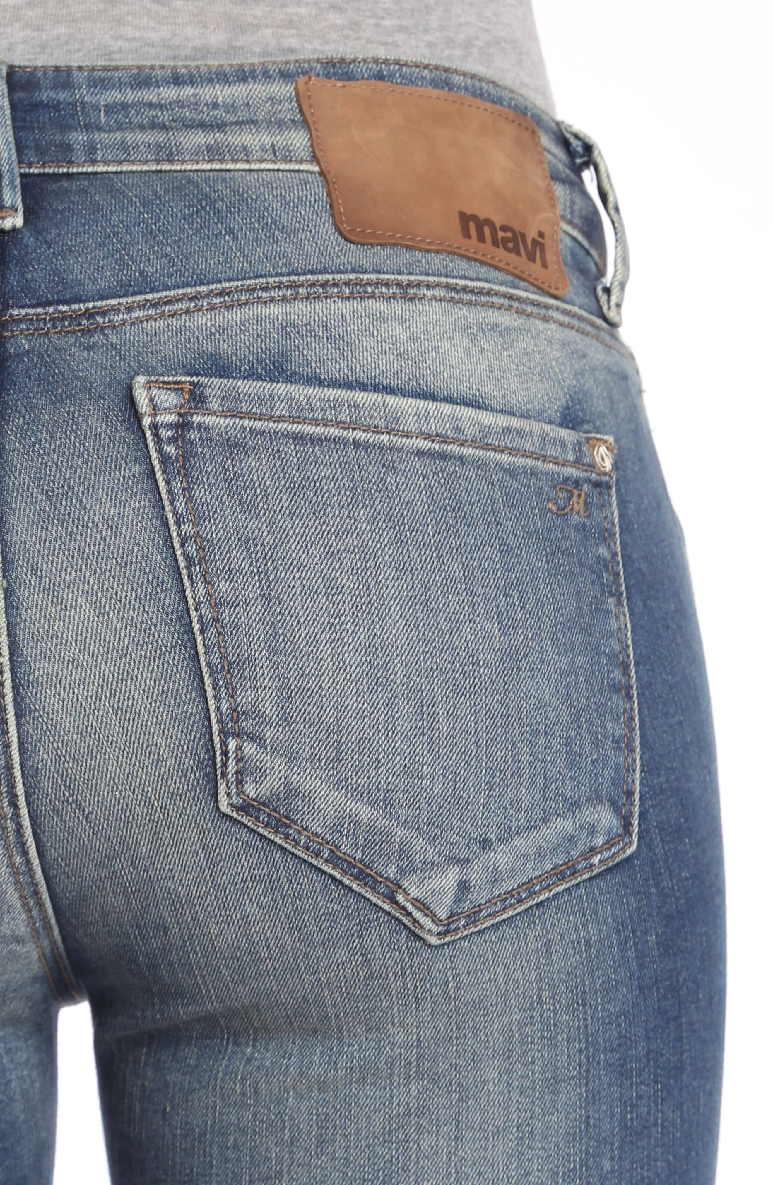 Adriana Stretch Skinny Jeans,                             Alternate thumbnail 4, color,                             Mid Shaded Glam Vintage