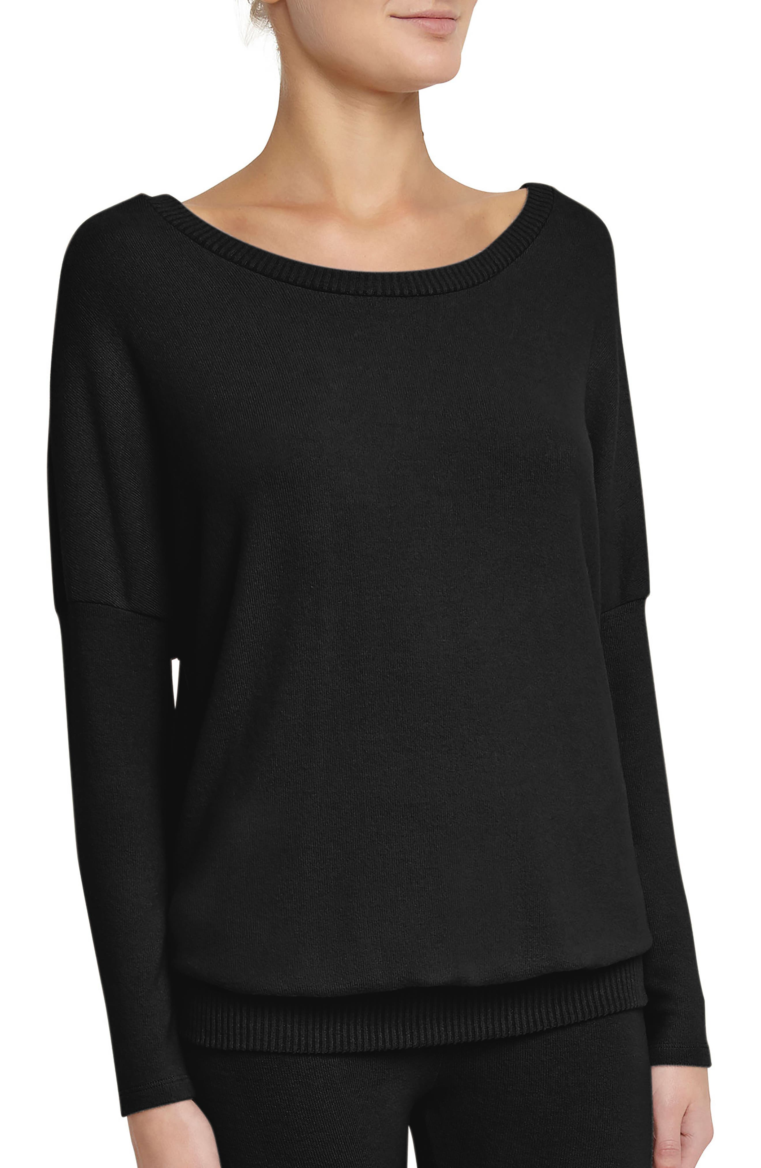 'Cozy Time' Slouchy Long Sleeve Tee,                         Main,                         color, Black