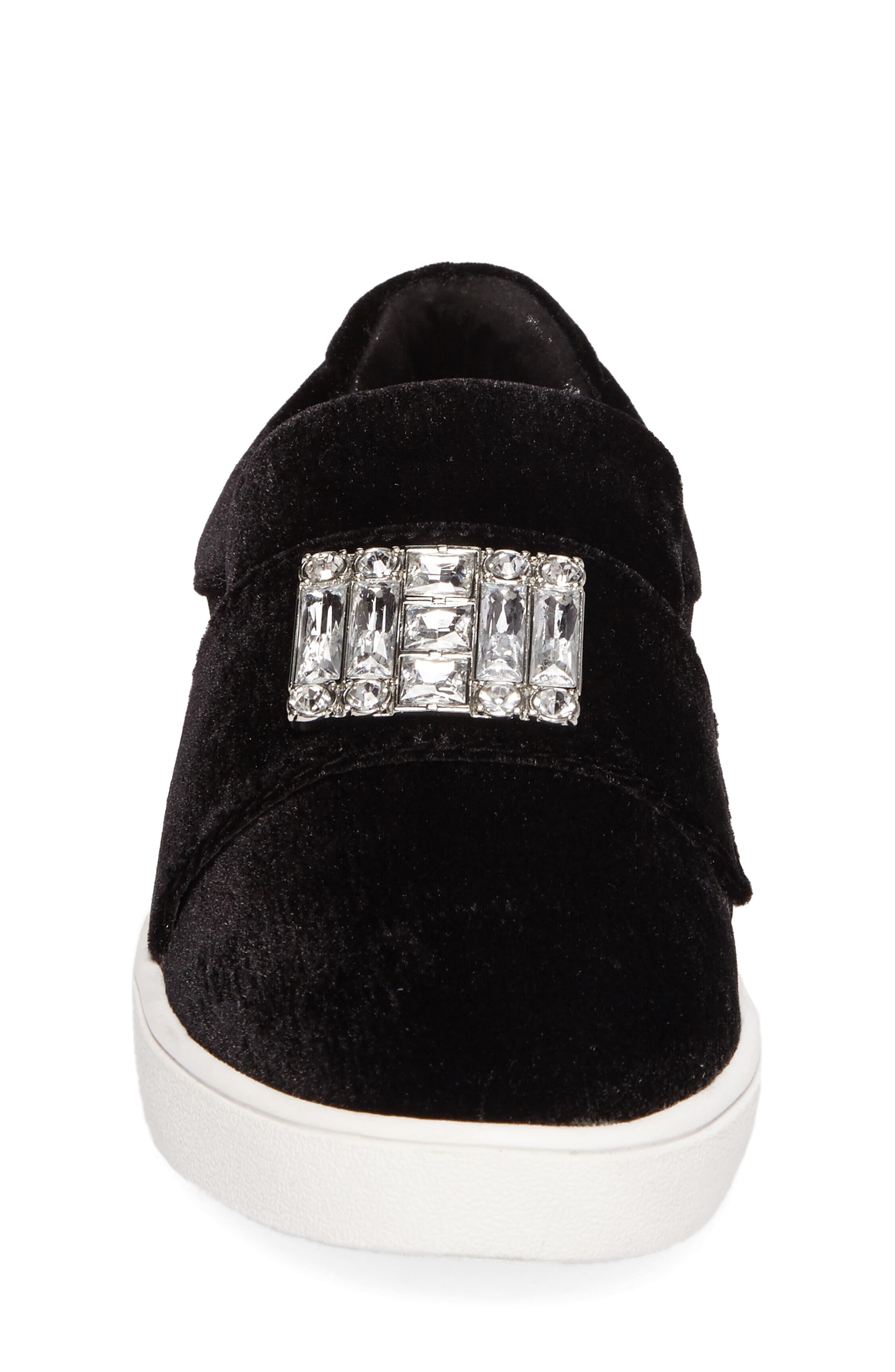 Ivy Dream Embellished Slip-On Sneaker,                             Alternate thumbnail 4, color,                             Black