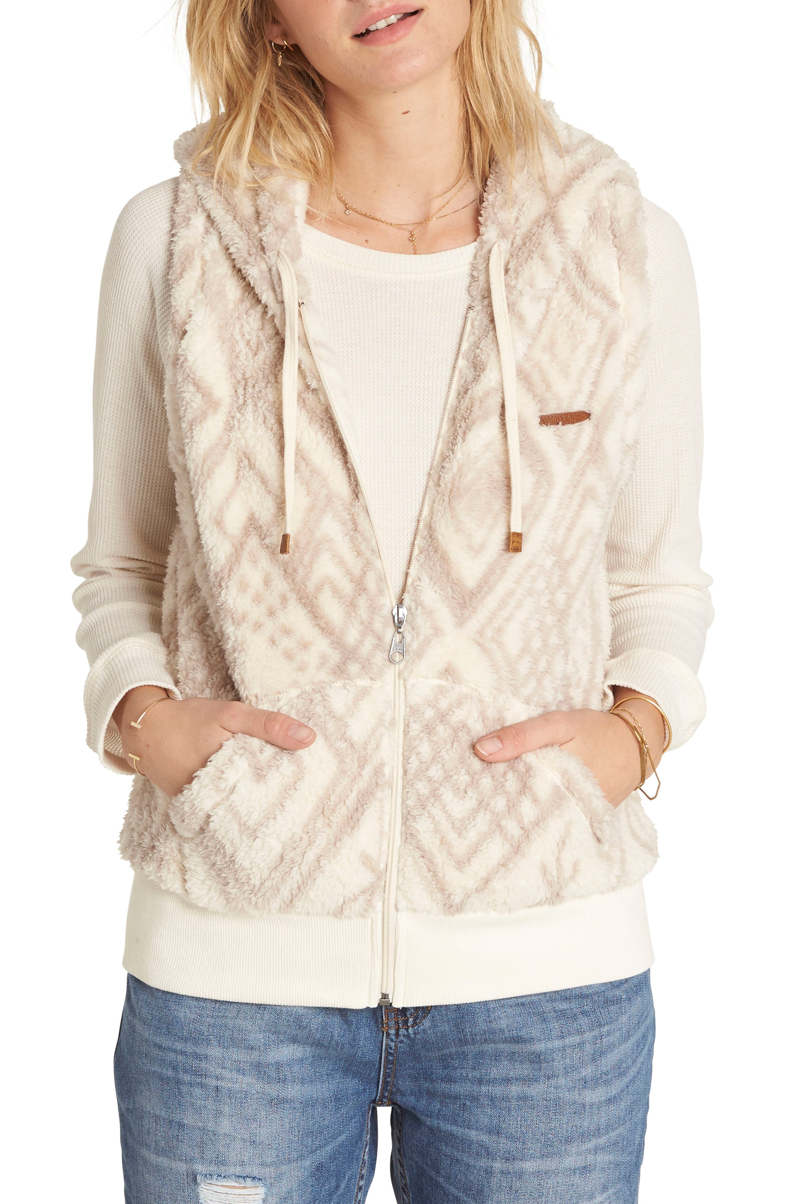 Side by Side Fleece Hooded Vest,                         Main,                         color, Cool Whip