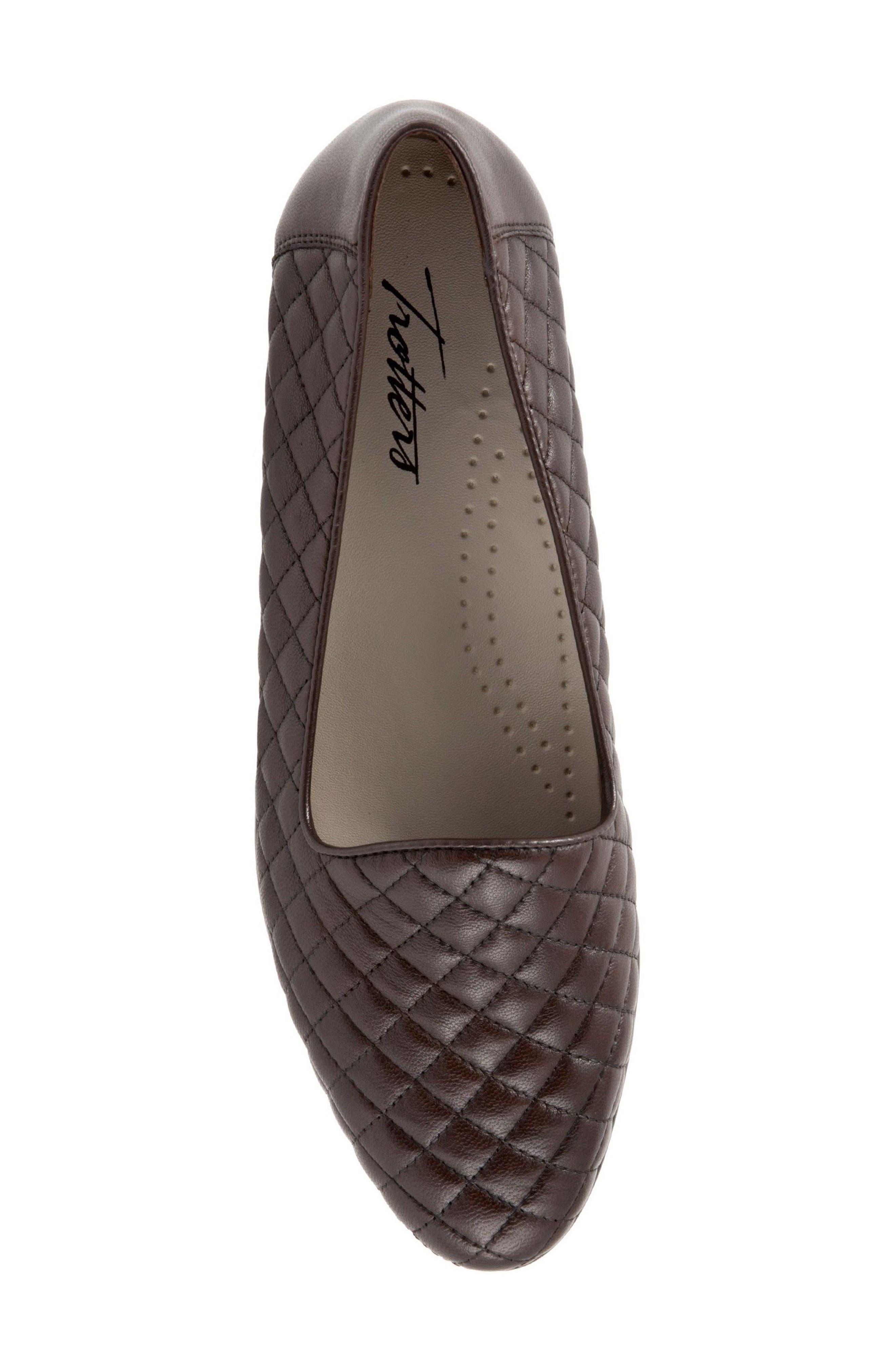 Liz Woven Loafer Flat,                             Alternate thumbnail 5, color,                             Dark Brown Leather