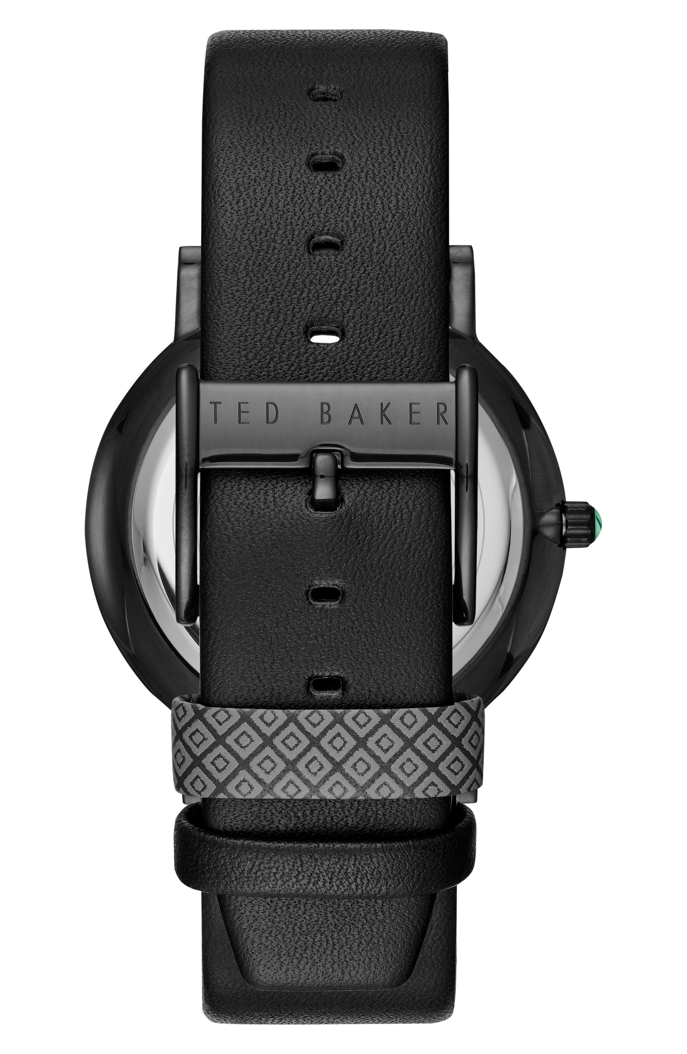 Grant Leather Strap Watch, 40mm,                             Alternate thumbnail 2, color,                             Black/ Black