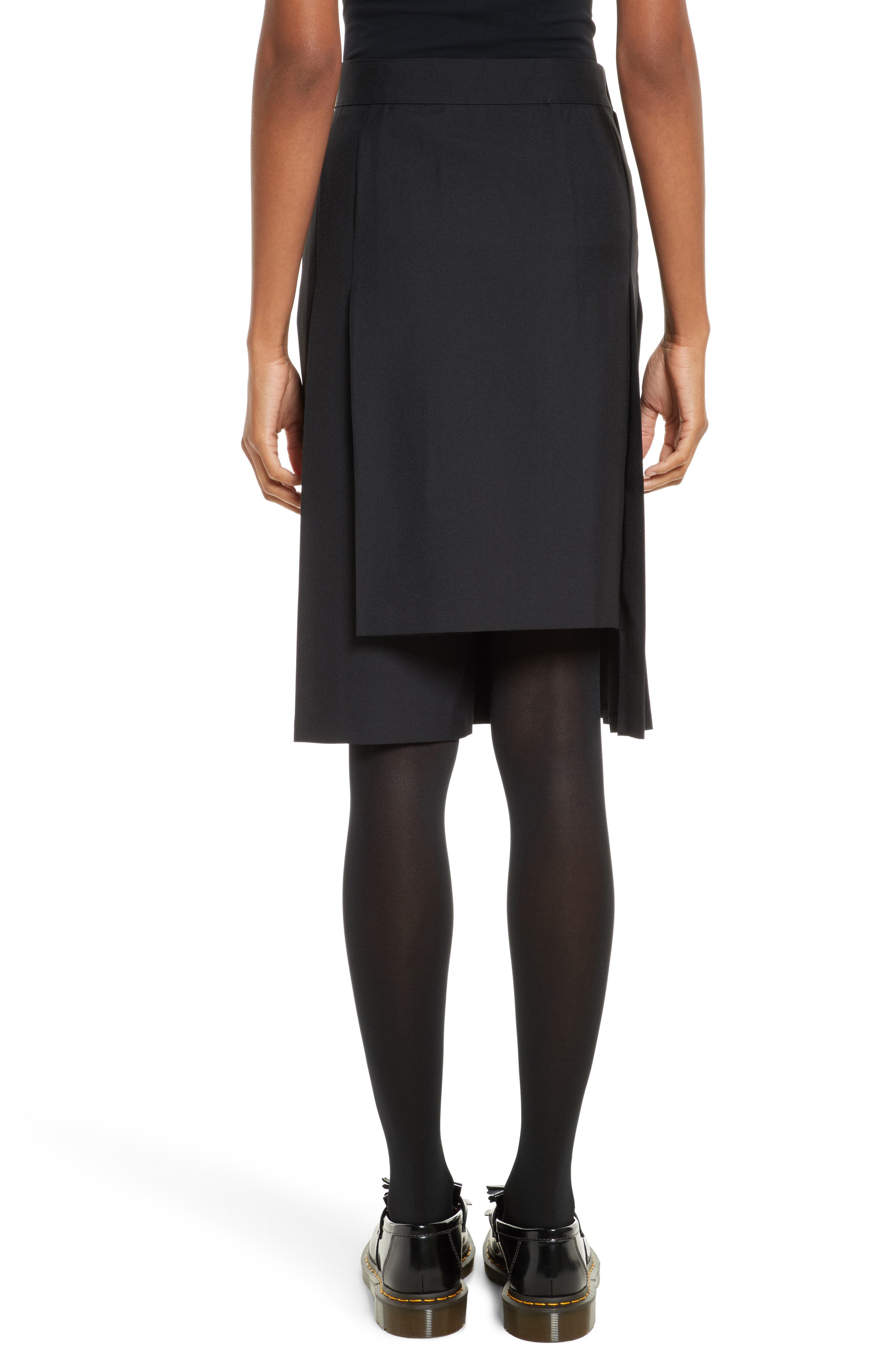 Pleated A-Line Skirt,                             Alternate thumbnail 2, color,                             Black