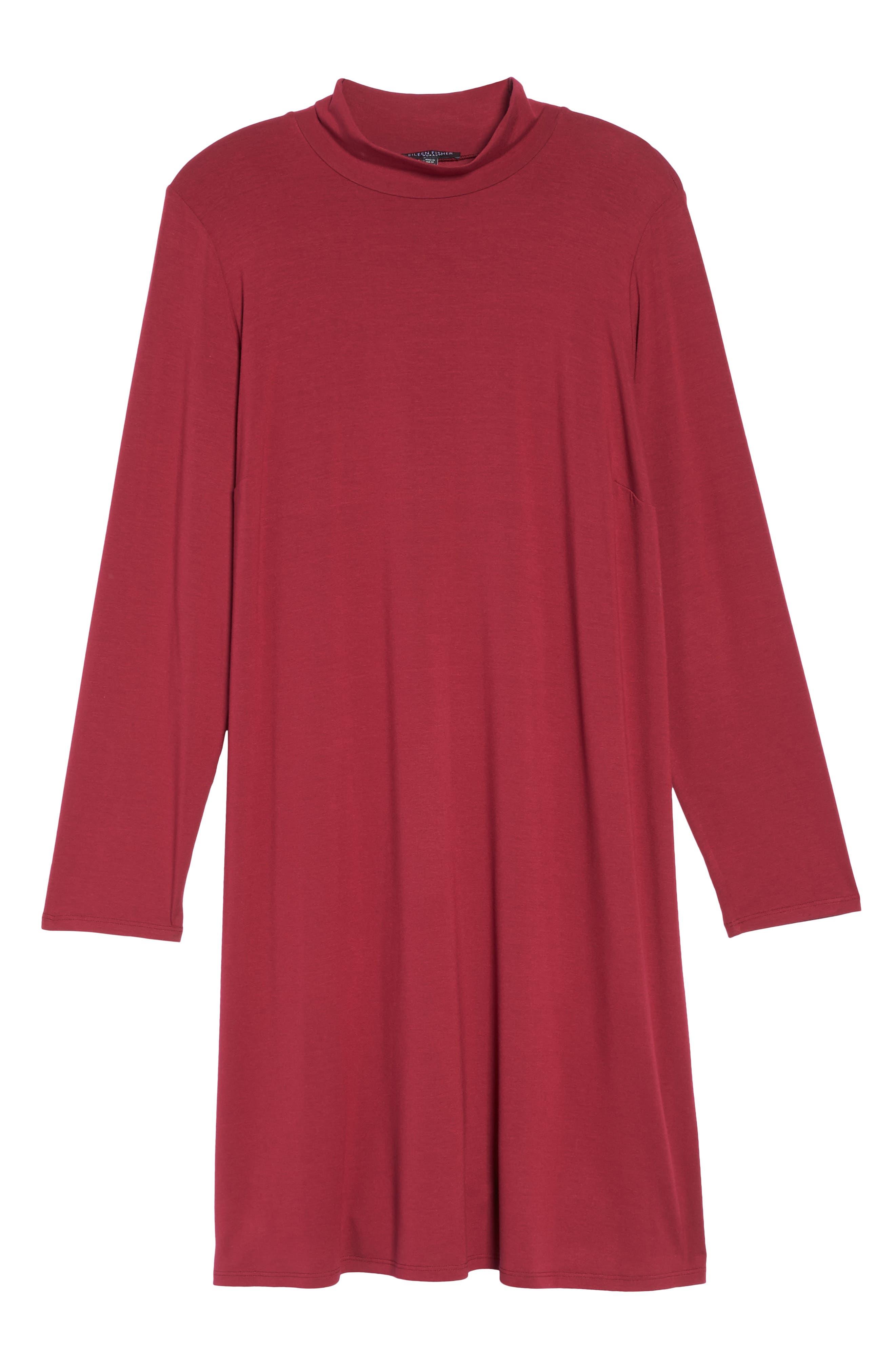 Mock Neck Shift Dress,                             Alternate thumbnail 6, color,                             Hibiscus