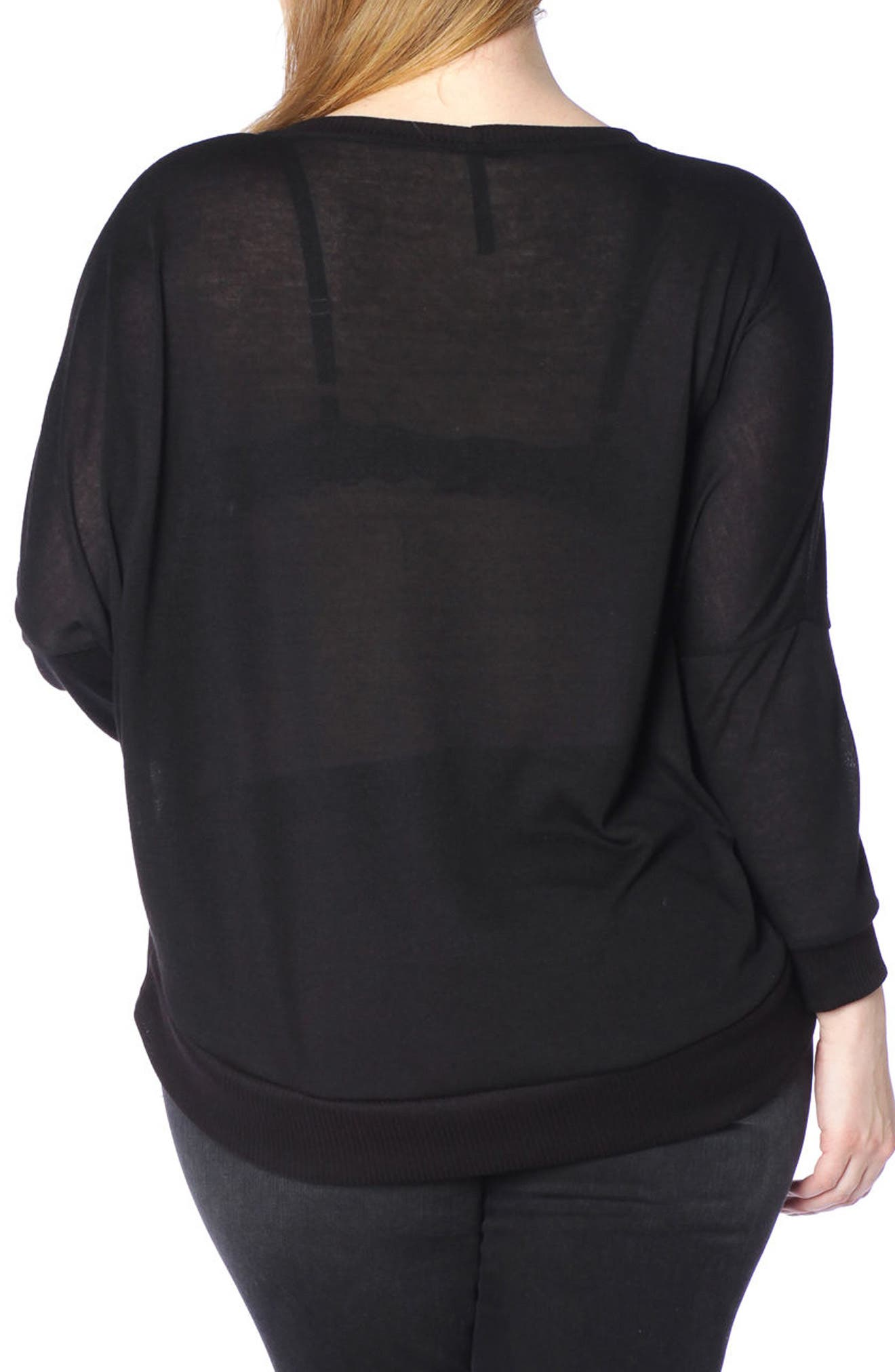 Dolman Sleeve Ribbed Pullover,                             Alternate thumbnail 2, color,                             Black