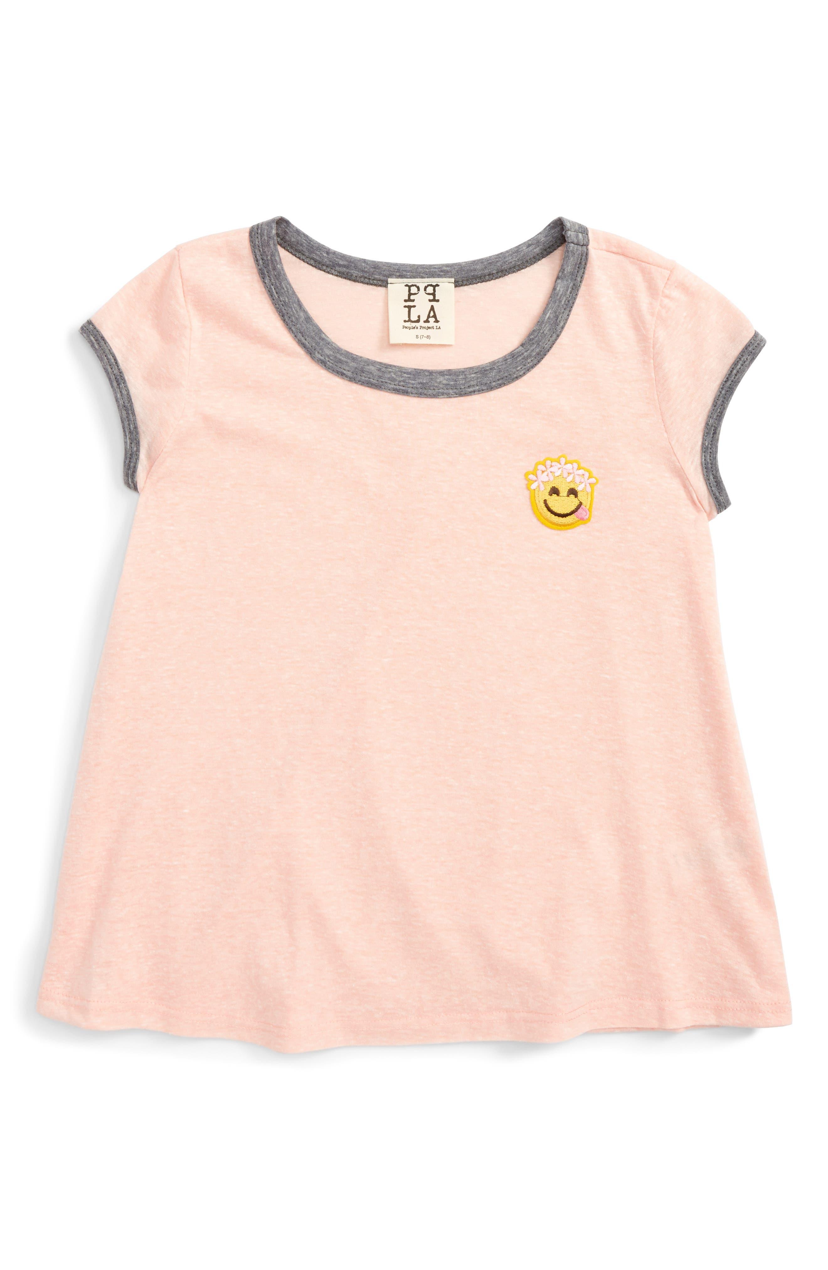Smiley Face Appliqué Tee,                         Main,                         color, Peach