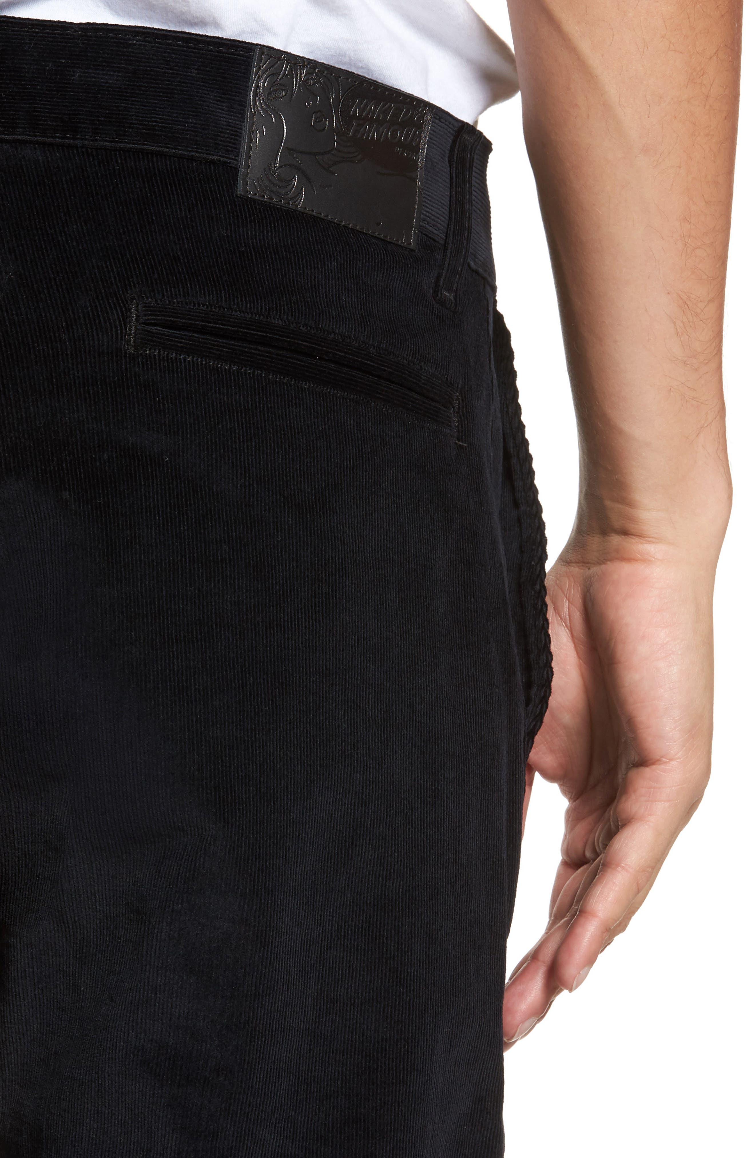 Naked & Famous Slim Chino Slim Fit Corduroy Pants,                             Alternate thumbnail 4, color,                             Black