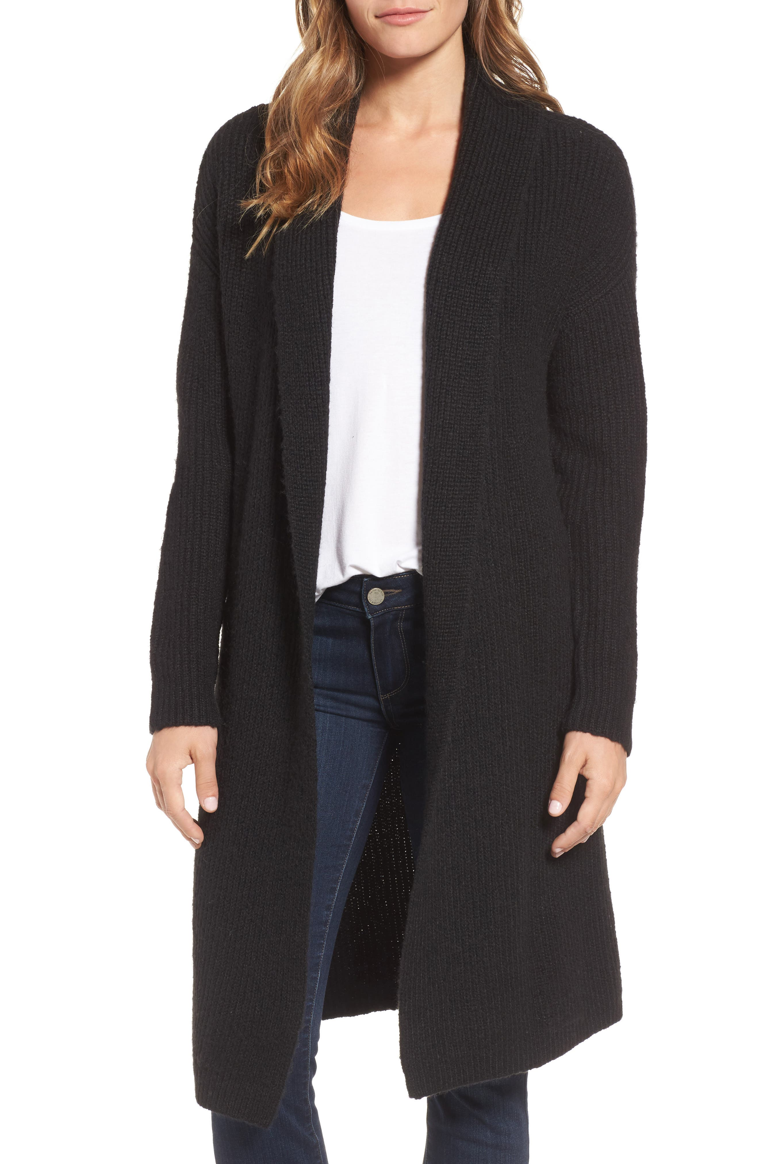 Textured Open Front Cardigan,                             Main thumbnail 1, color,                             Black