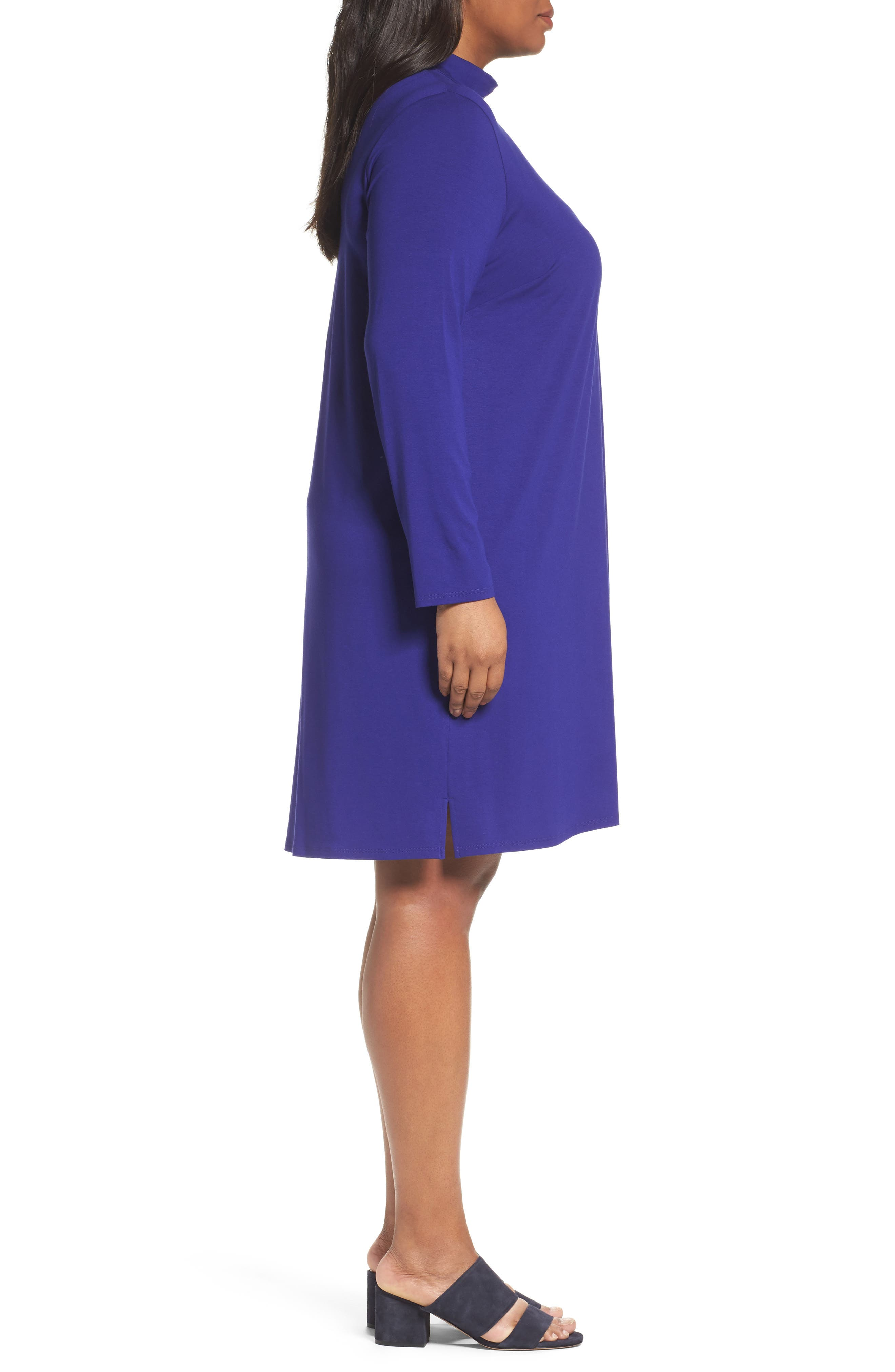 Alternate Image 3  - Eileen Fisher Mock Neck Shift Dress (Plus Size)