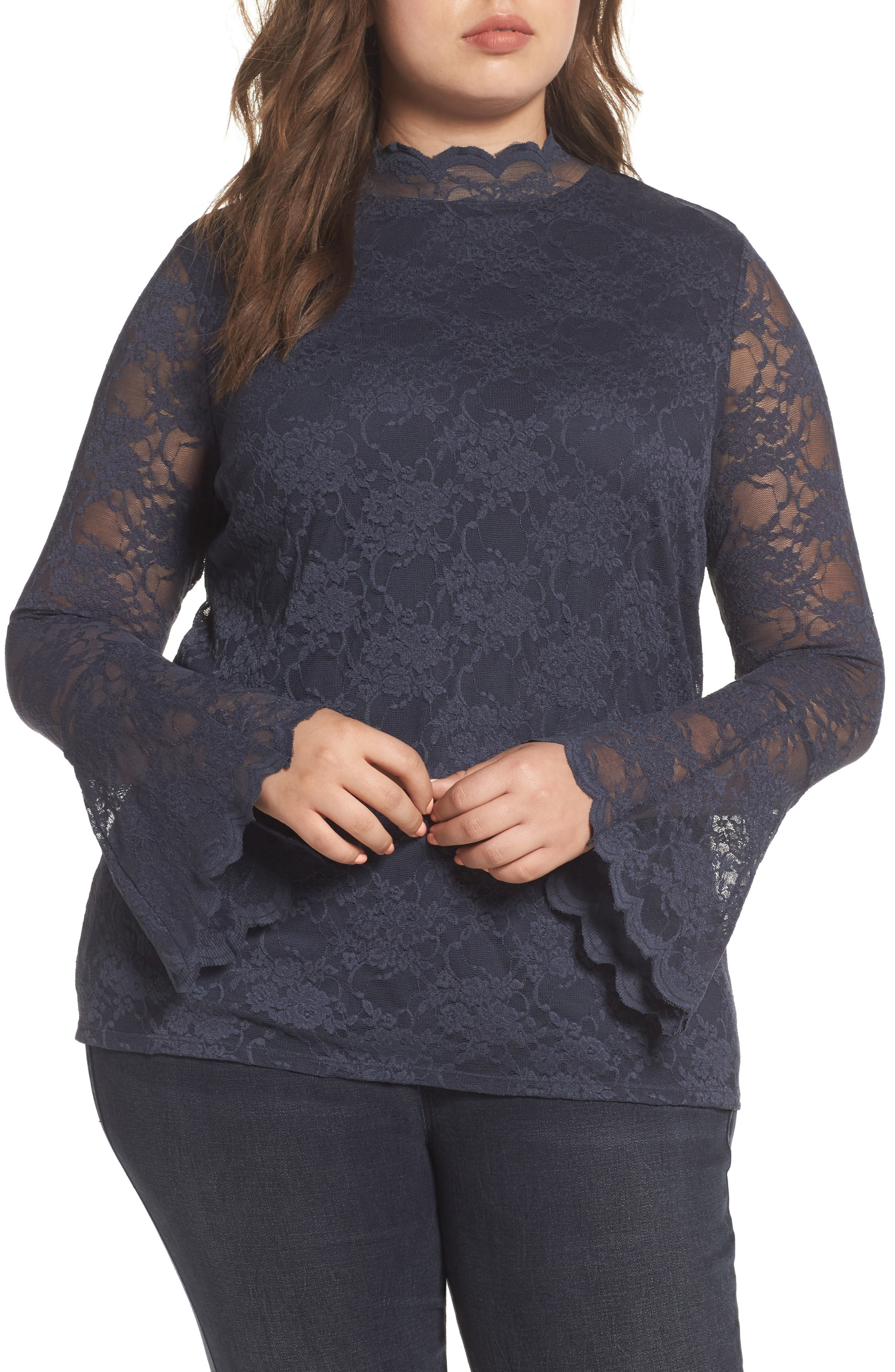 Main Image - Vince Camuto Bell Sleeve Lace Top (Plus Size)