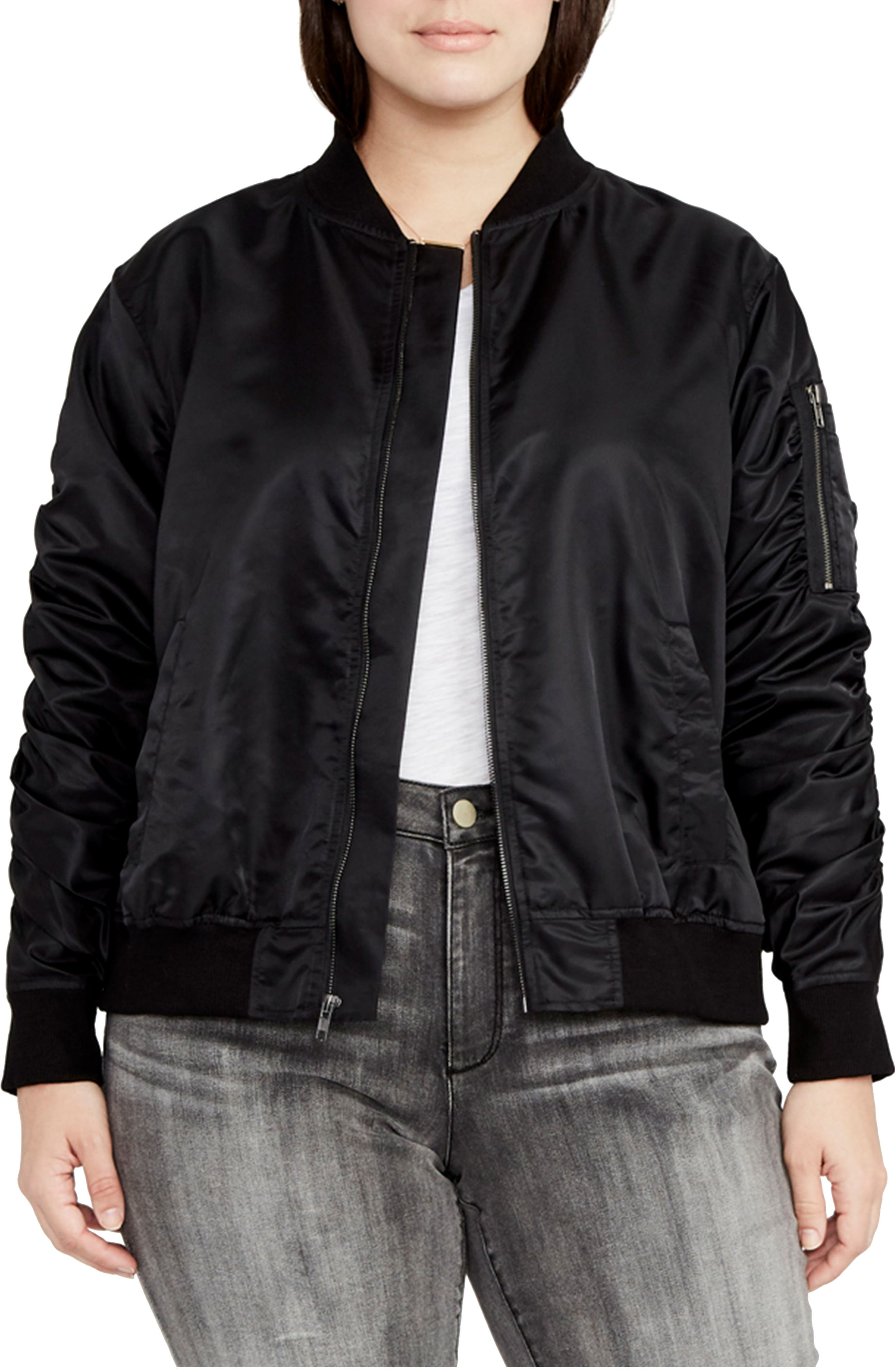Alternate Image 1 Selected - RACHEL Rachel Roy Nylon Bomber Jacket (Plus Size)