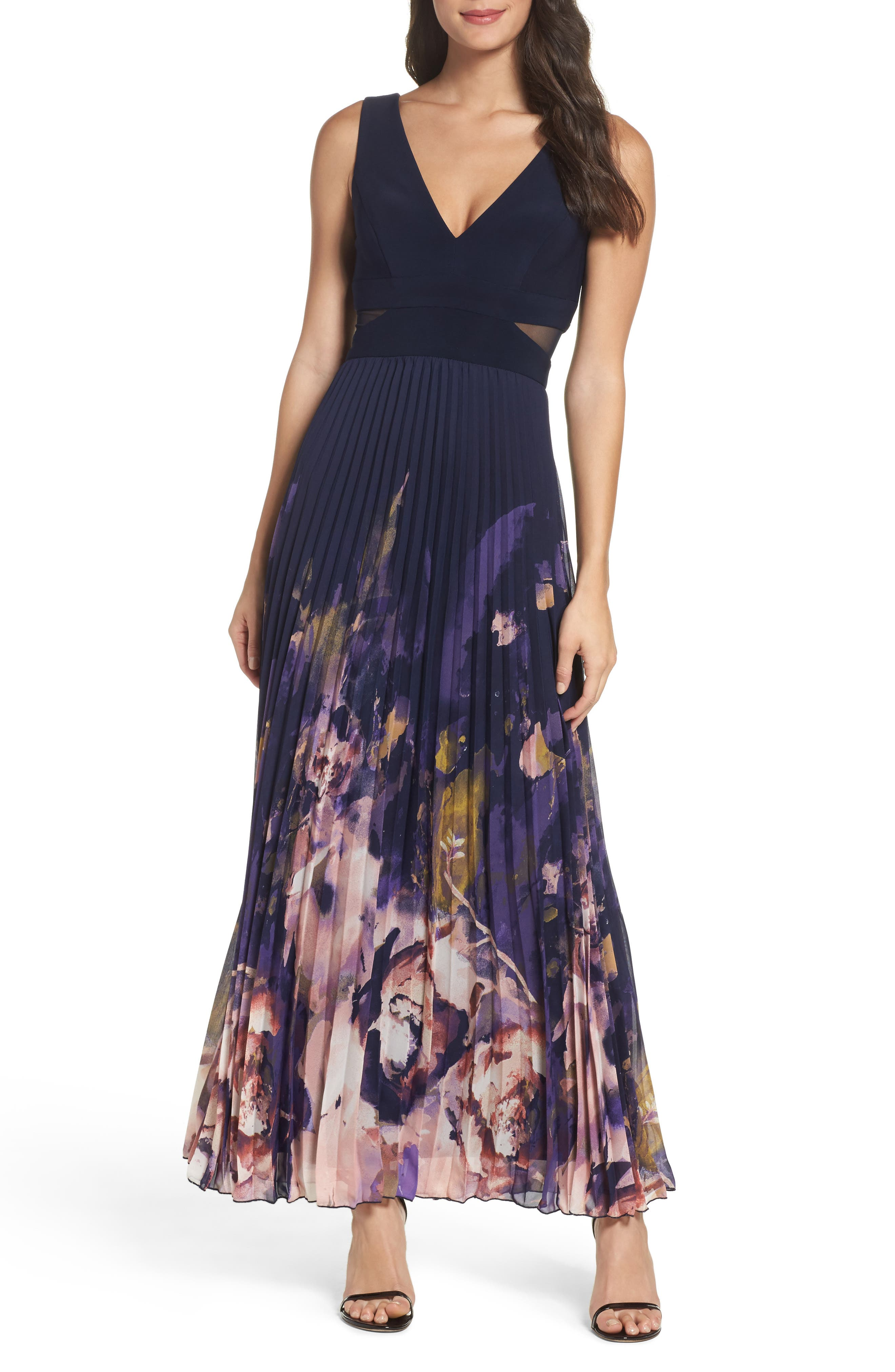 Floral Border A-Line Chiffon Gown,                         Main,                         color, Navy Multi