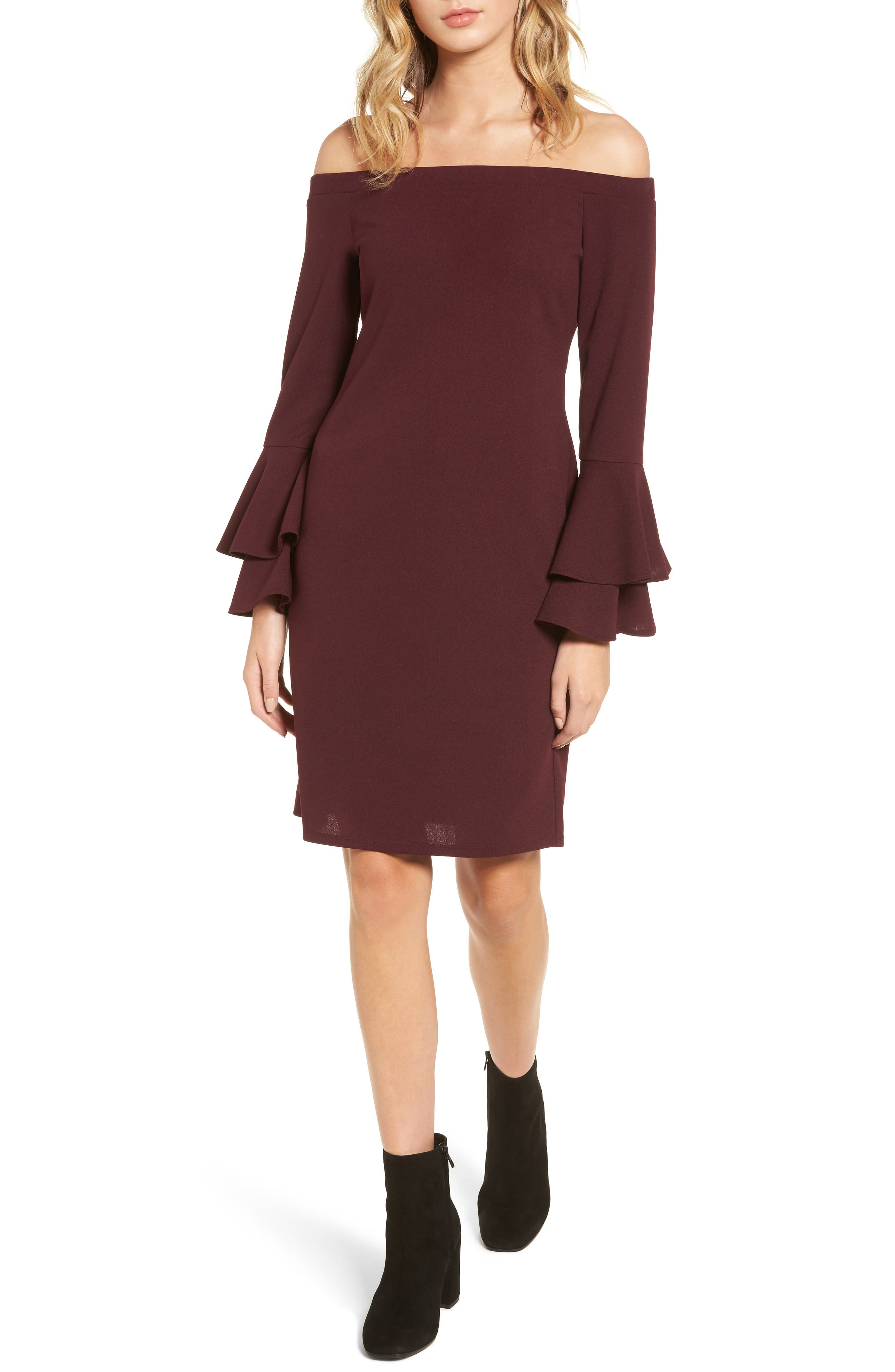 One Clothing Ruffle Sleeve Sheath Dress