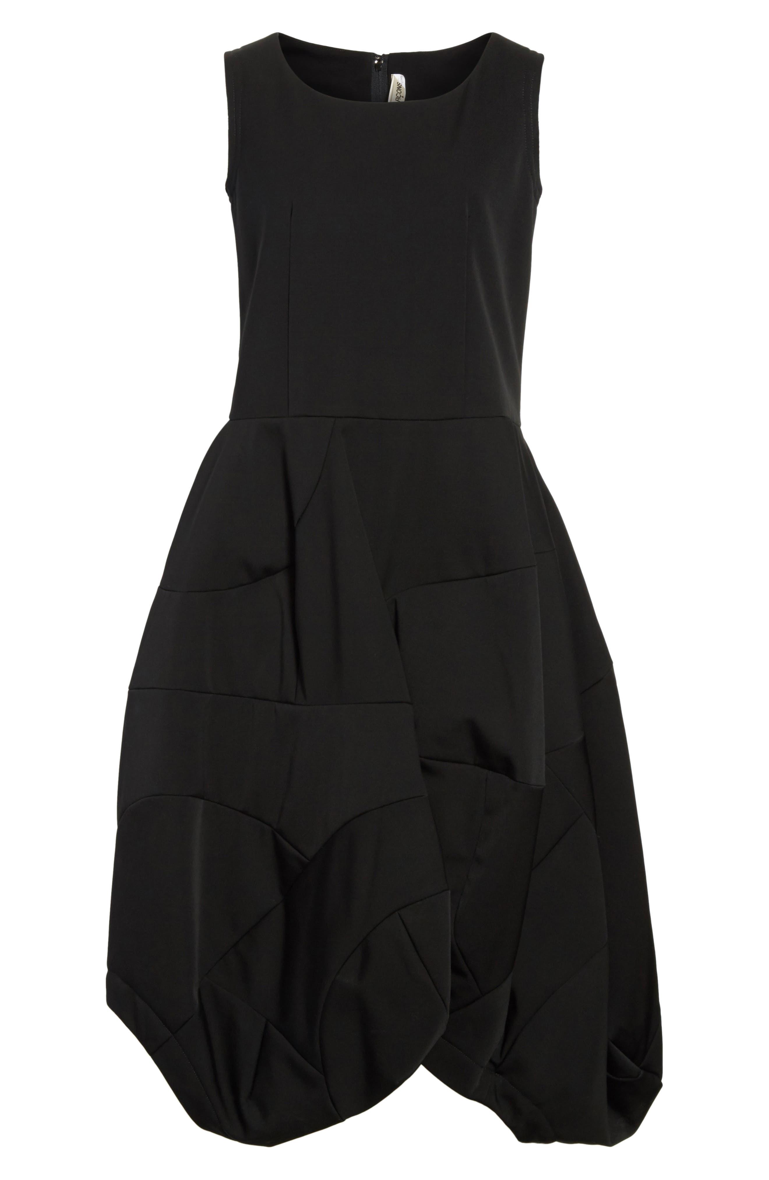 Bending Skirt Wool Dress,                             Alternate thumbnail 7, color,                             Black