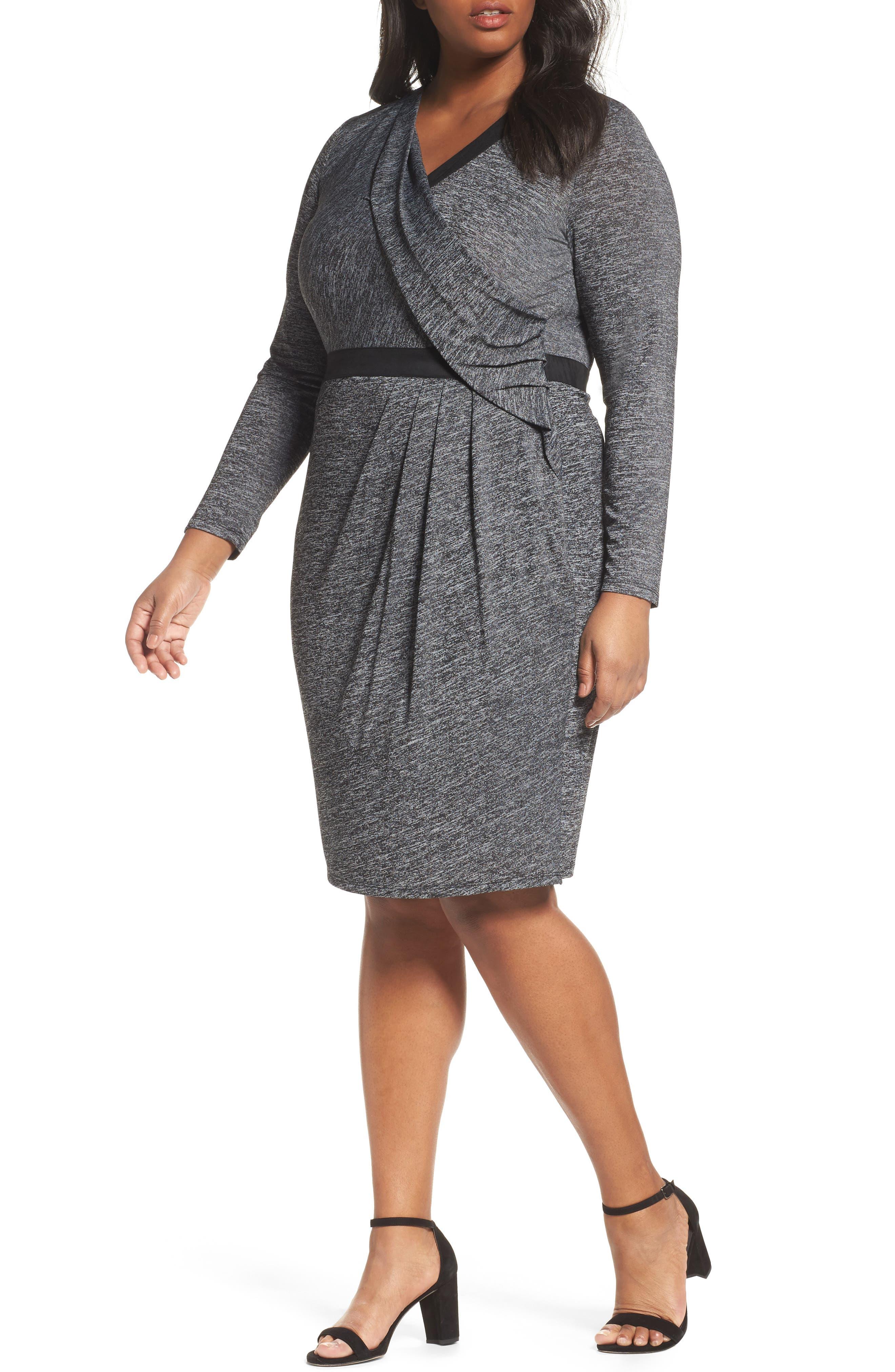 Knit Faux Wrap Dress,                         Main,                         color, Heather/ Black