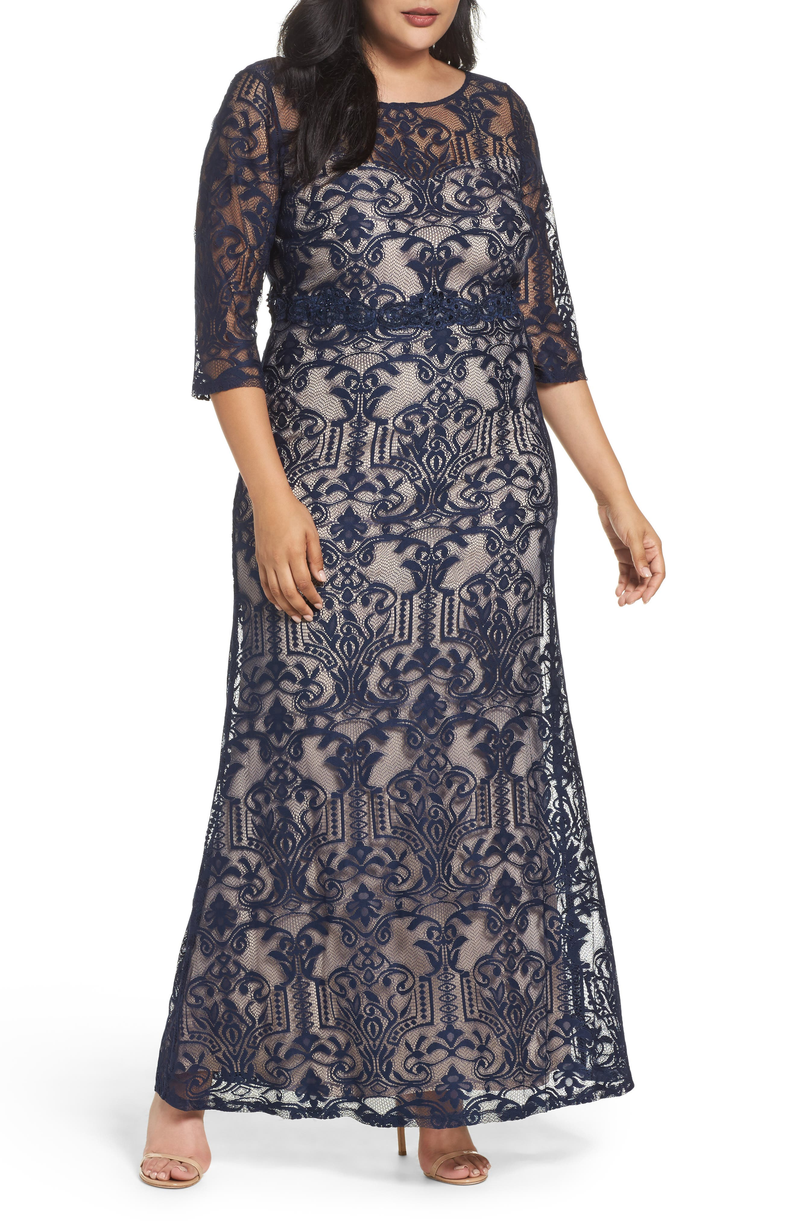 A-Line Lace Gown,                         Main,                         color, Navy/ Taupe