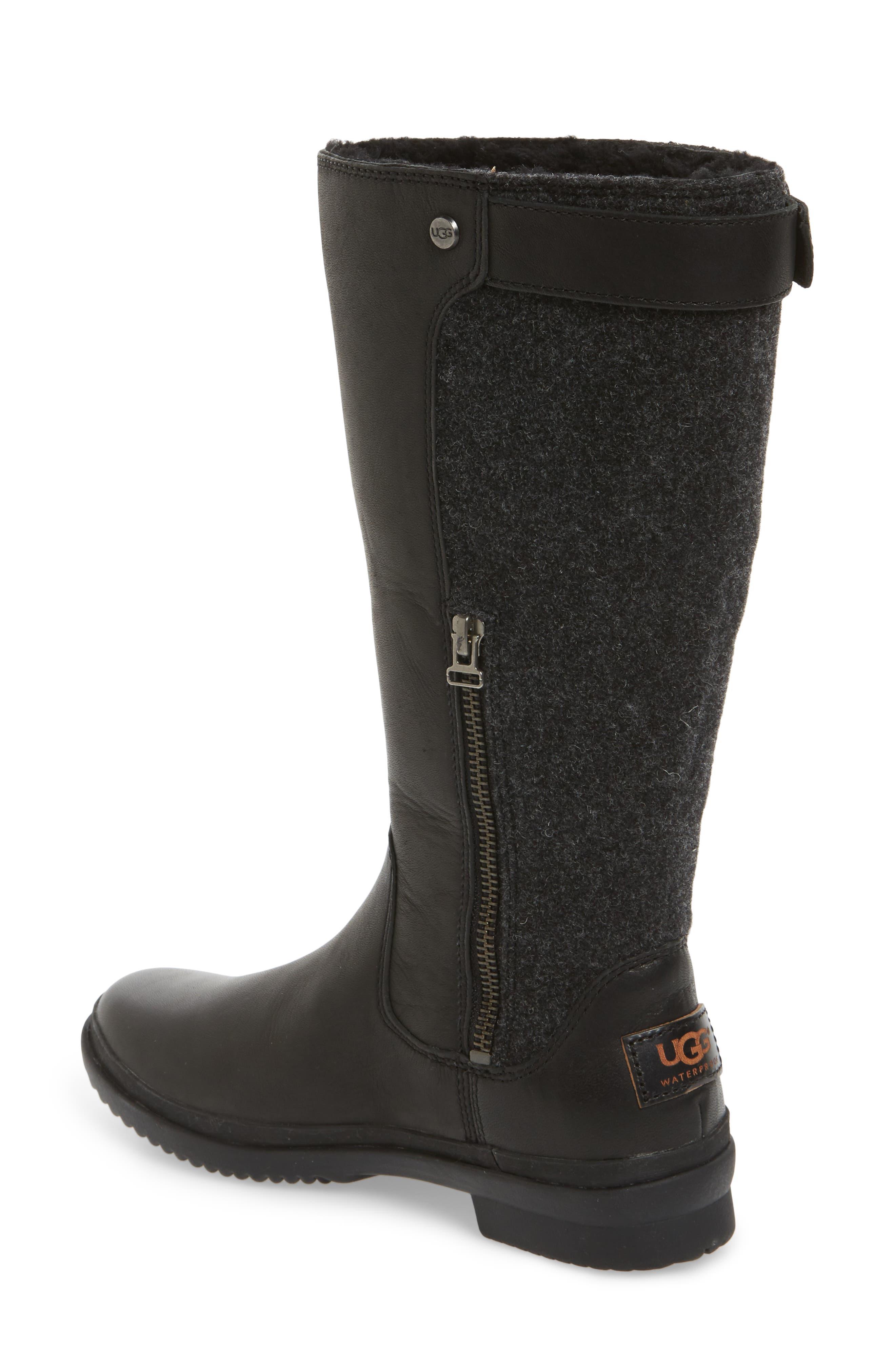 Janina Rain Boot,                             Alternate thumbnail 2, color,                             Black Leather