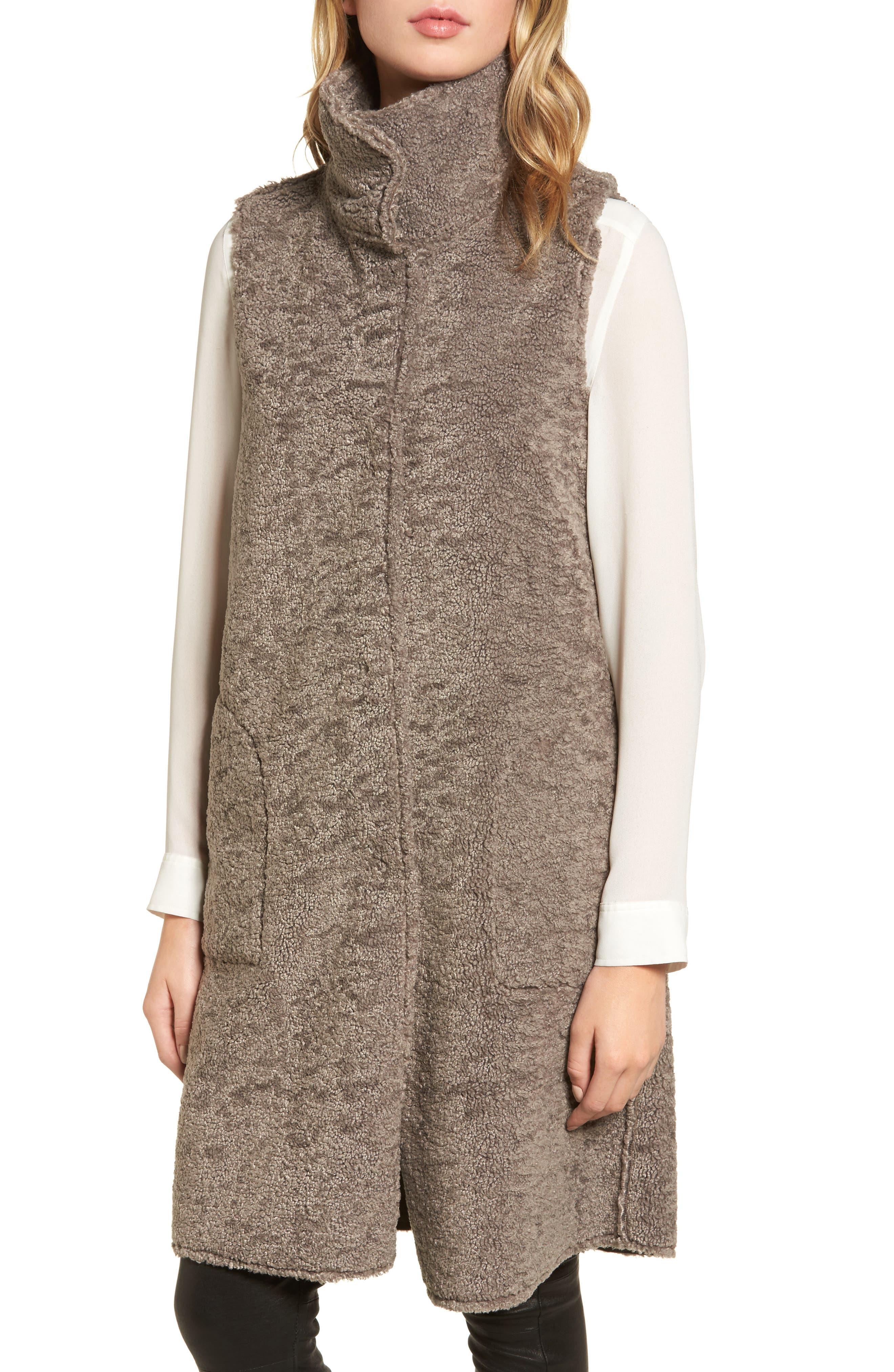 Velvet Reversible Faux Shearling Vest,                             Alternate thumbnail 4, color,                             Brown/ Brown