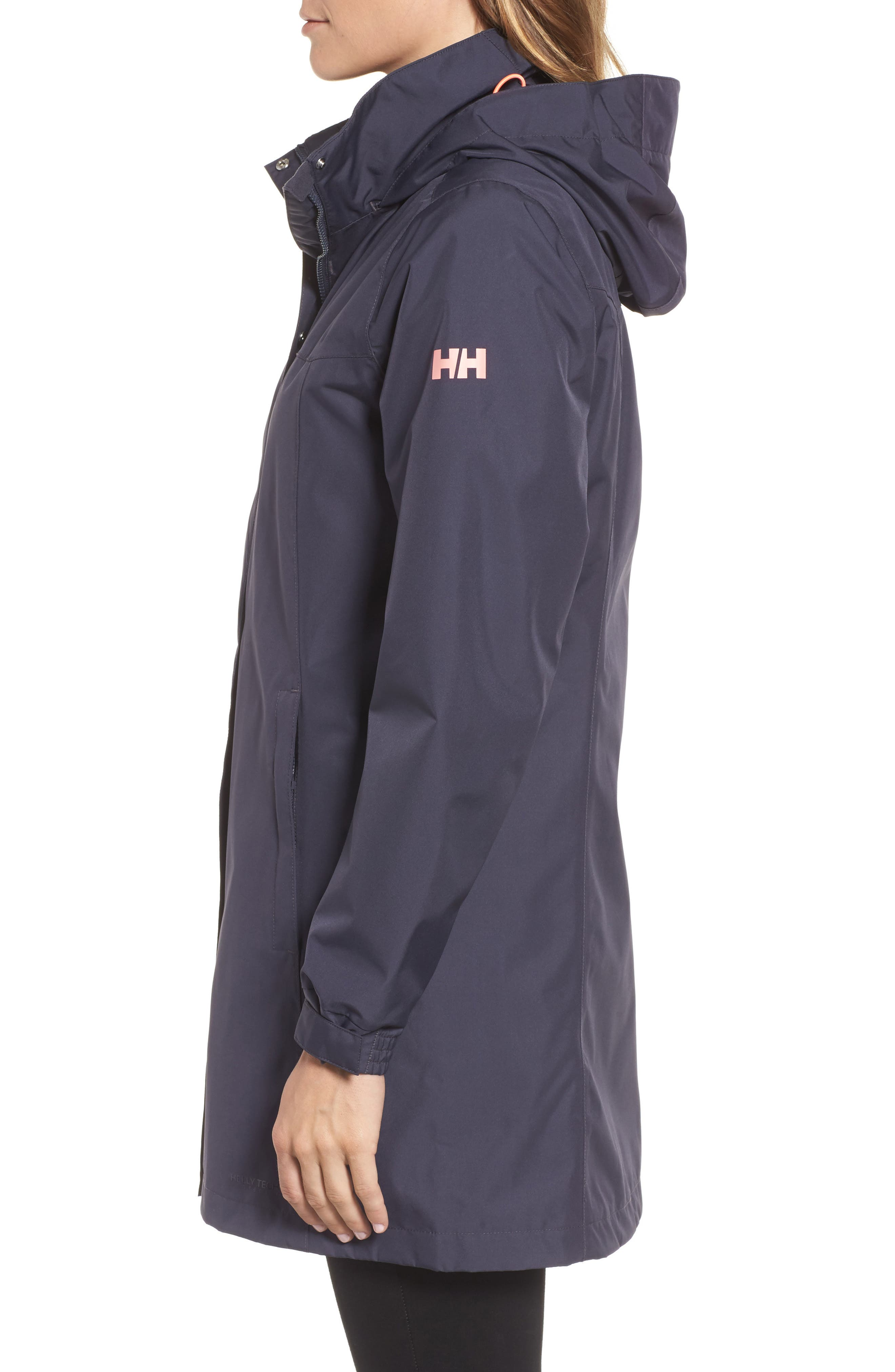 'Aden' Helly Tech<sup>®</sup> Raincoat,                             Alternate thumbnail 3, color,                             Graphite Blue