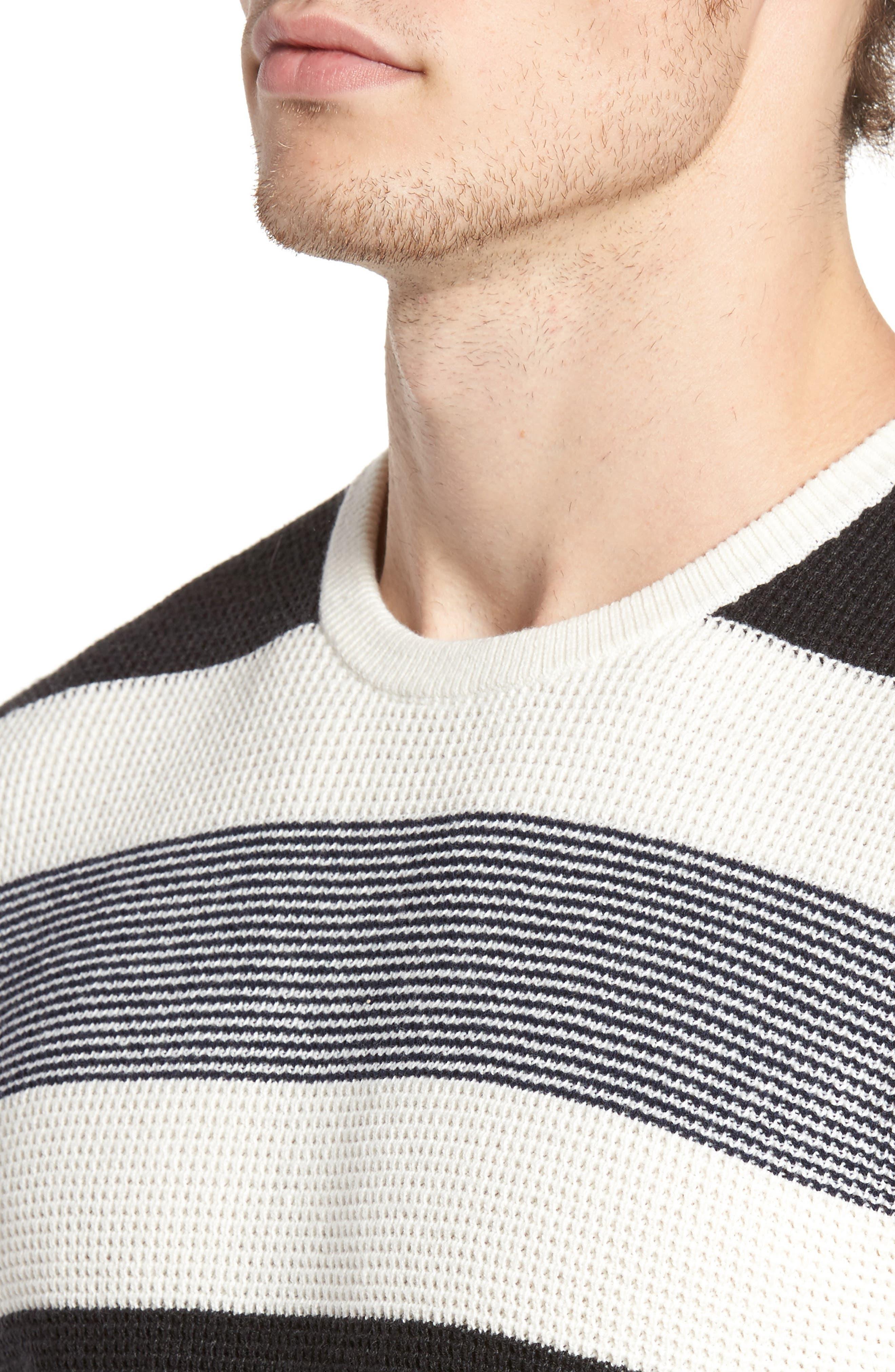 Stripe Waffle Knit Sweater,                             Alternate thumbnail 4, color,                             Ivory- Grey Large Stripe